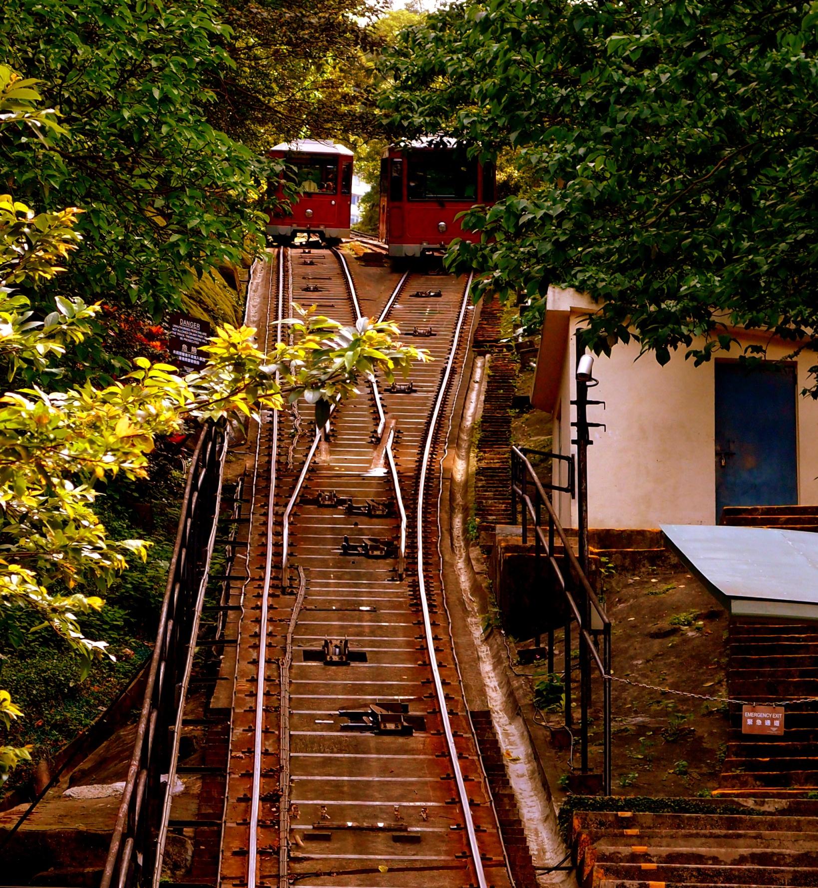 May Road - the Peak Tram crossing place