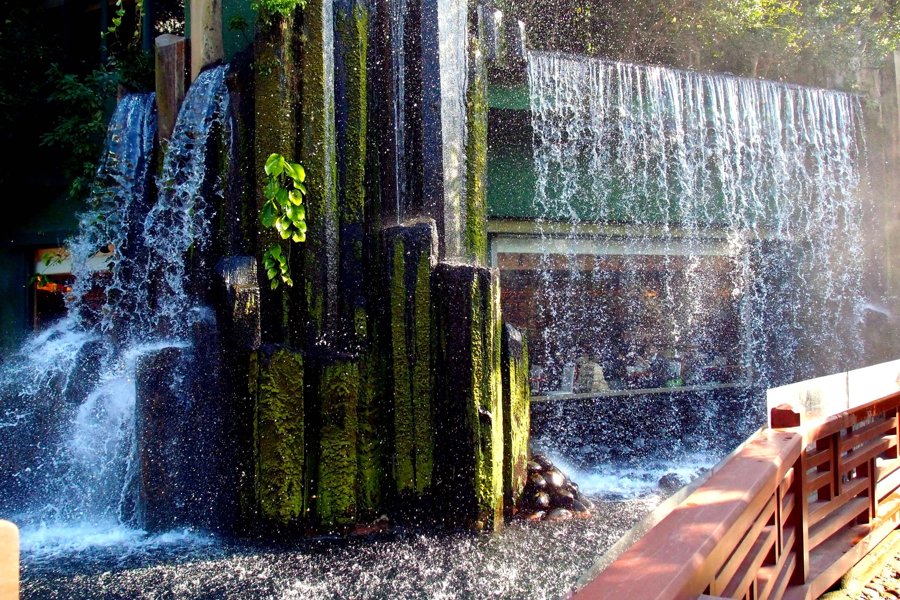 Behind the waterfall is a veggie restaurant run by the Nuns