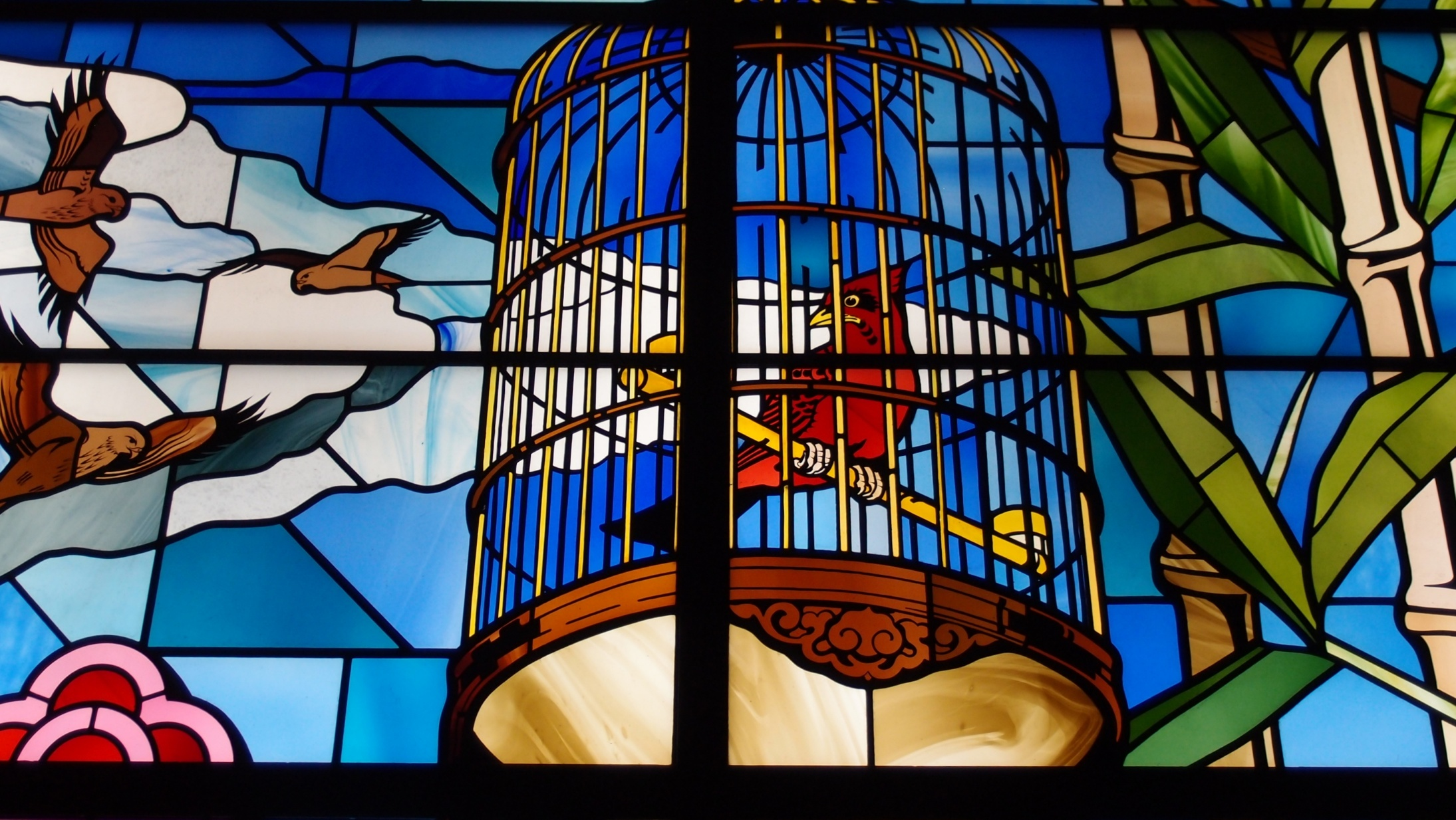 A stained glass window at Standard Chartered Bank headquarters