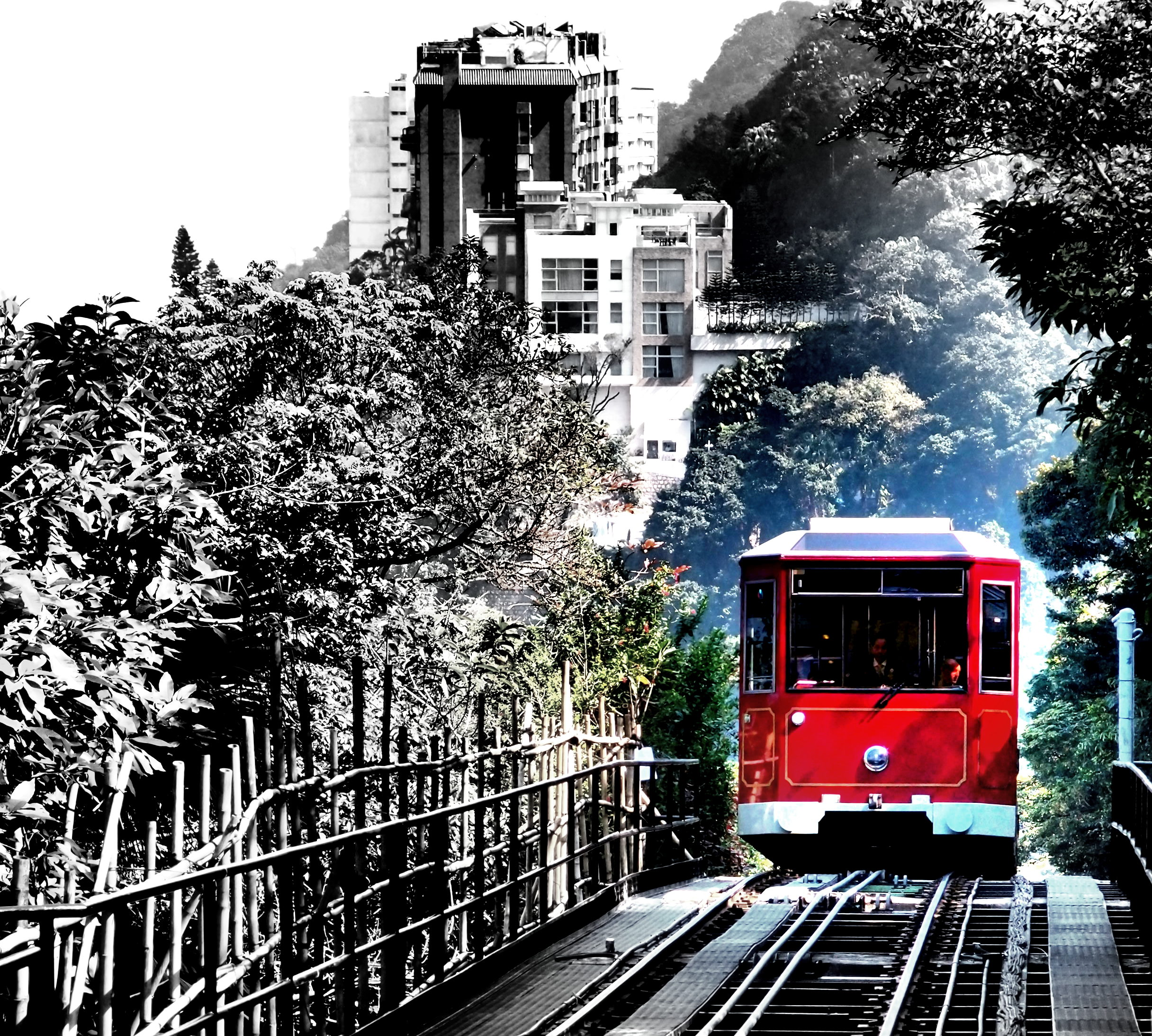 The iconic Peak Tram cresting the hill approaching the Peak Tram Station at the Peak