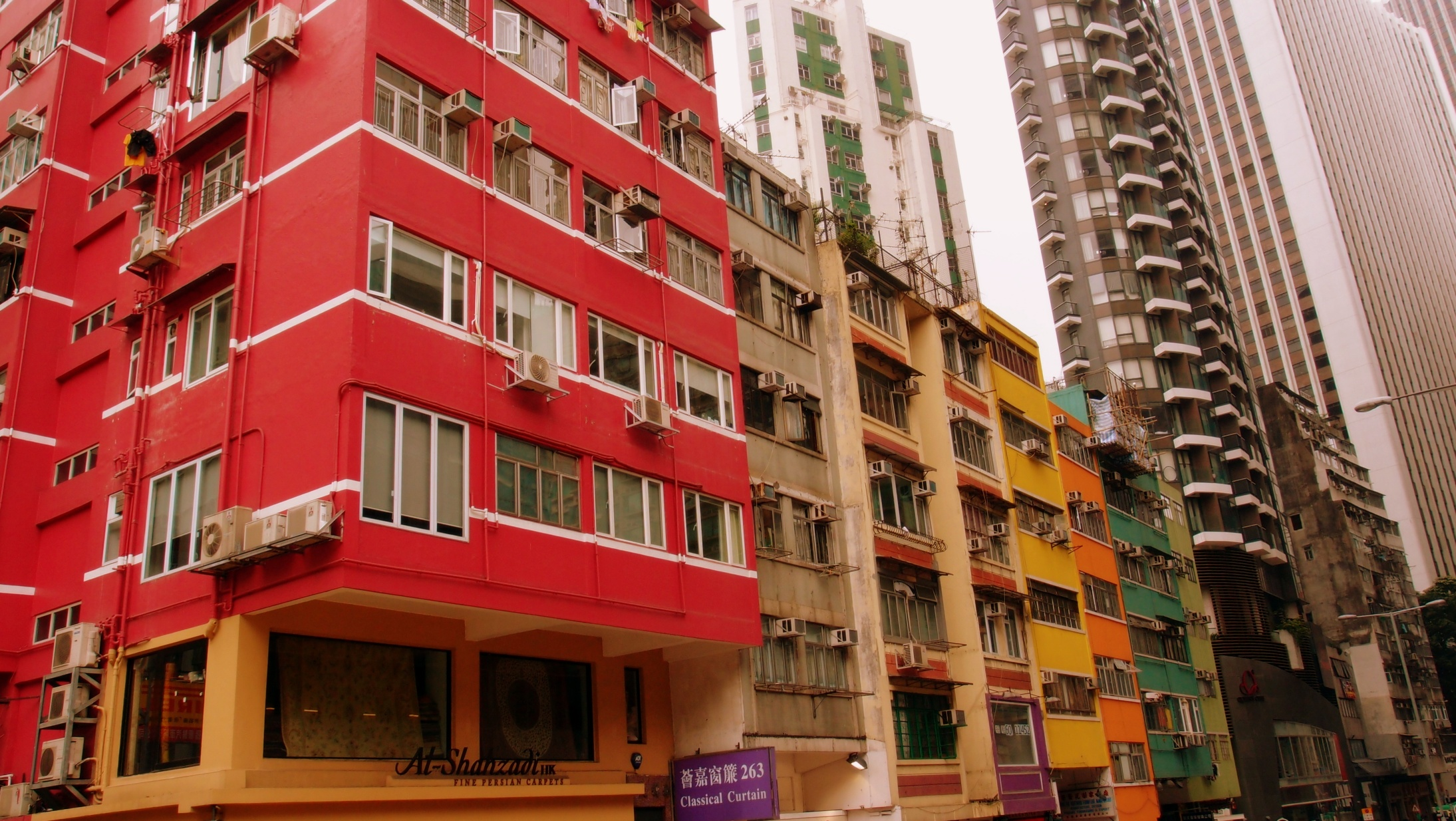 Colourful apartment buildings on Queens Road East in Wanchai