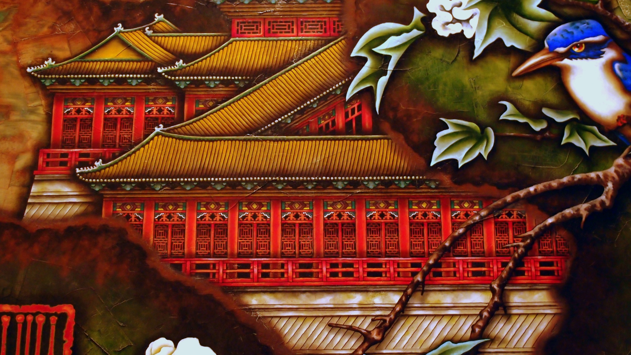 Part of a painting in the Kowloon Shangri - La Hotel lobby