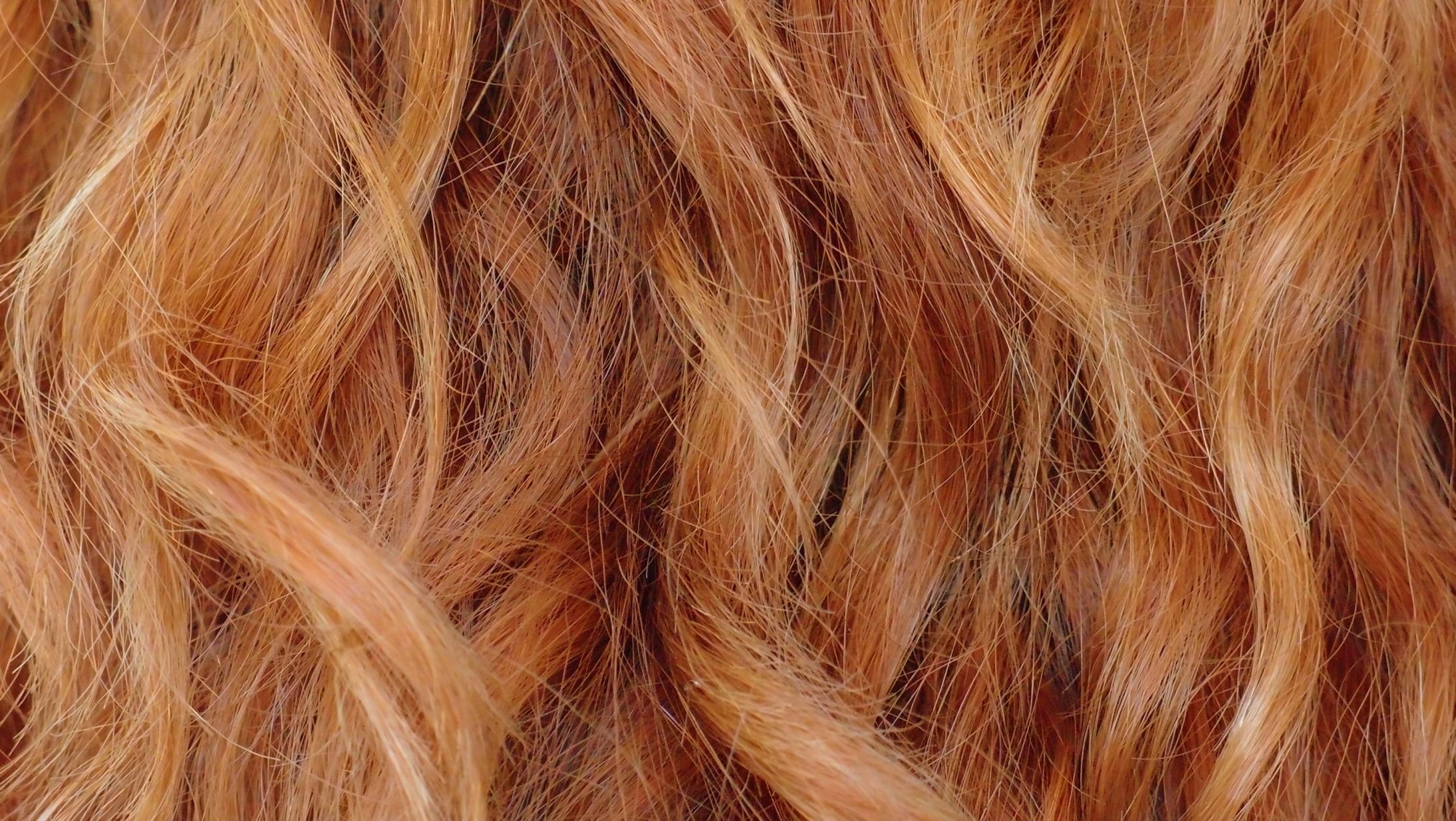 A ladies hair up close