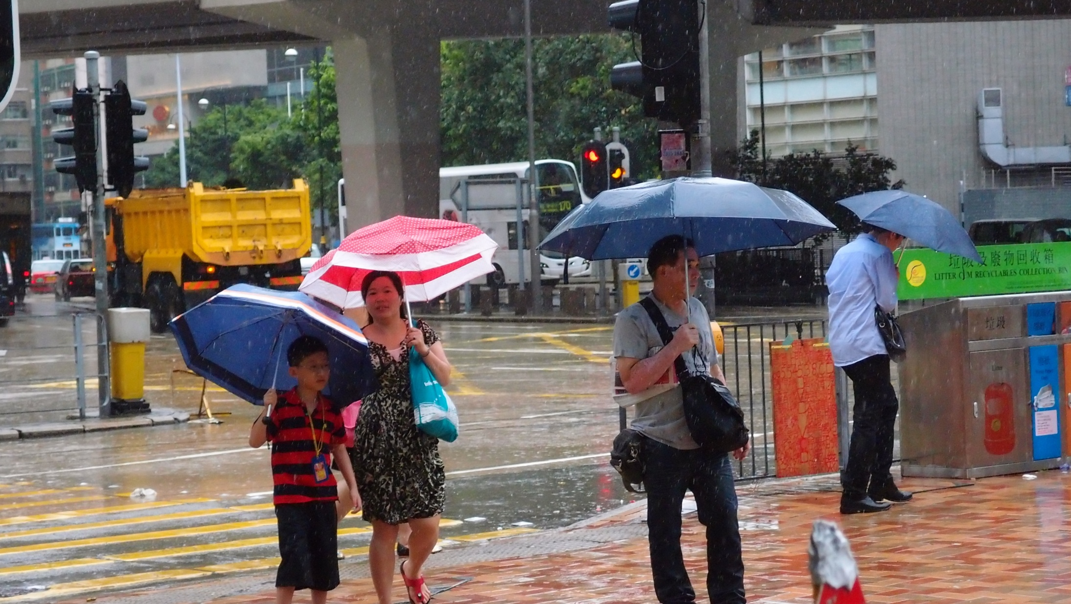 Most kids like making a splash when it rains, not this studious young fellow