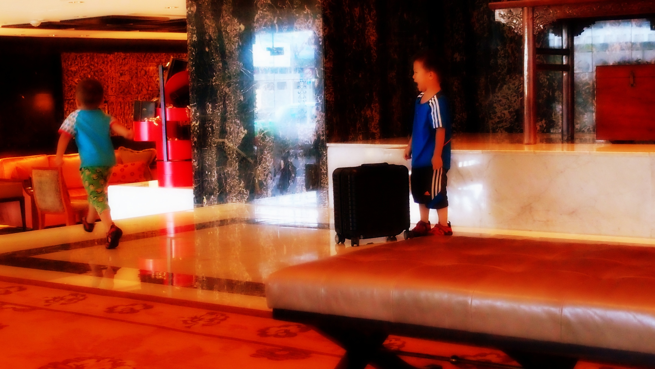 These little buggers ran riot in the lobby of the Mandarin Oriental Hotel