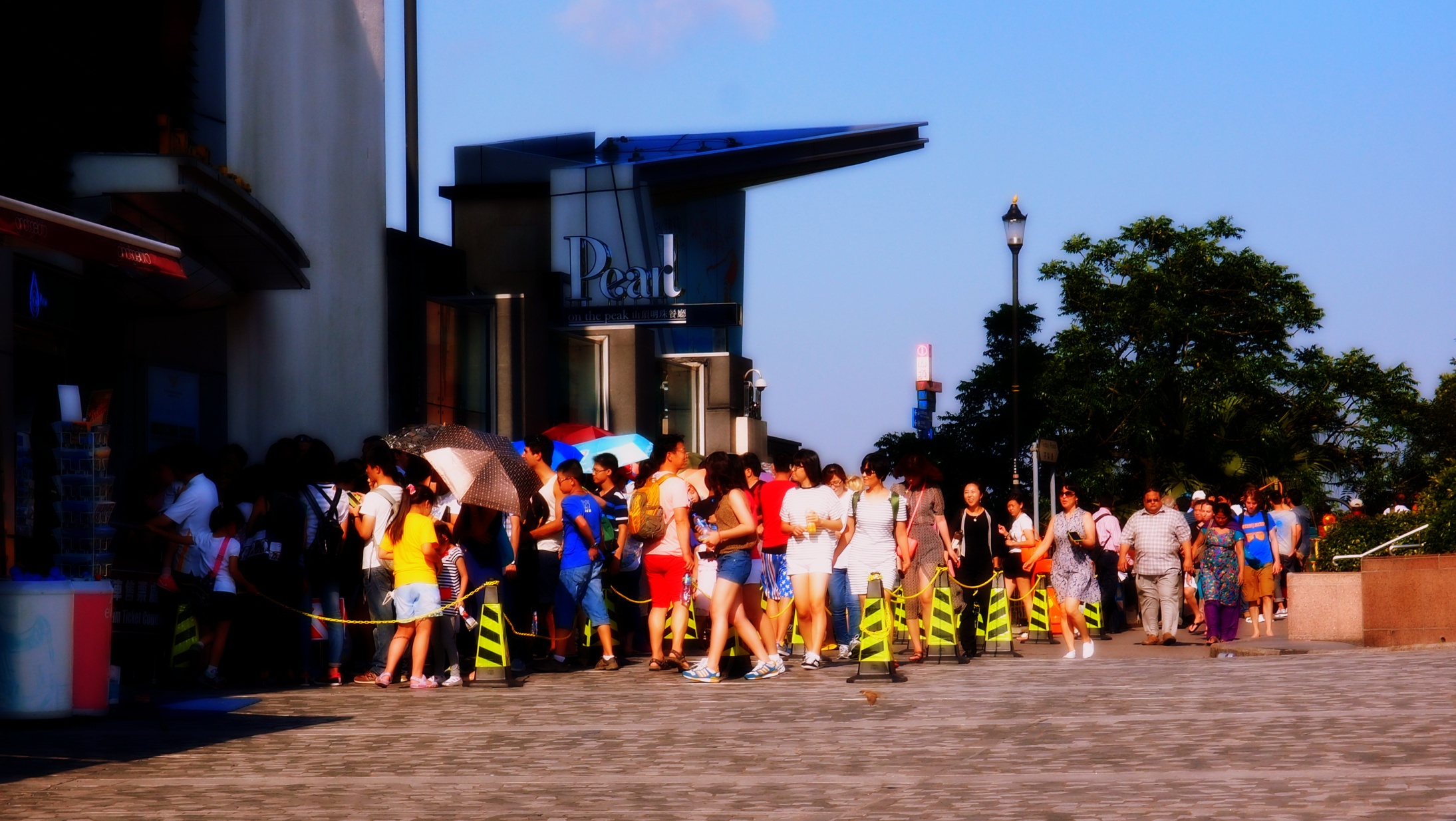 The line for the Peak Tram at the Peak