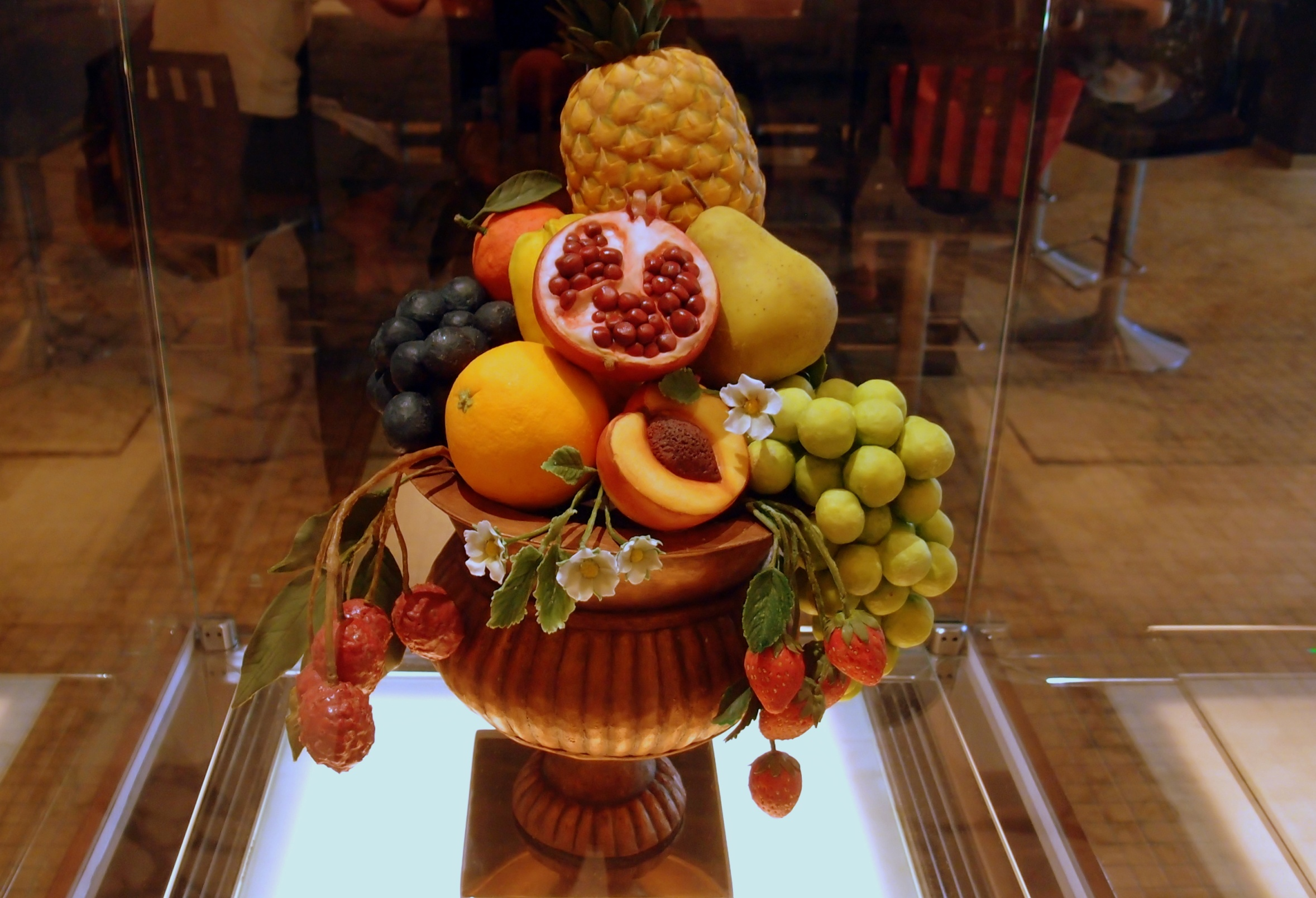 A fruit bowl made of chocolate