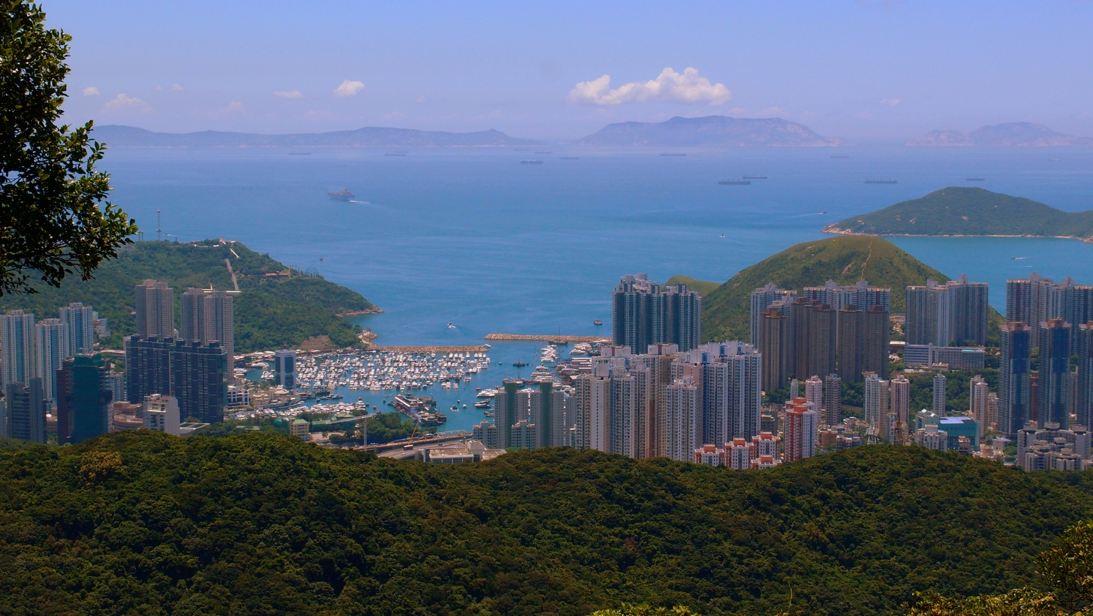Walking up Peak Road Hong Kong