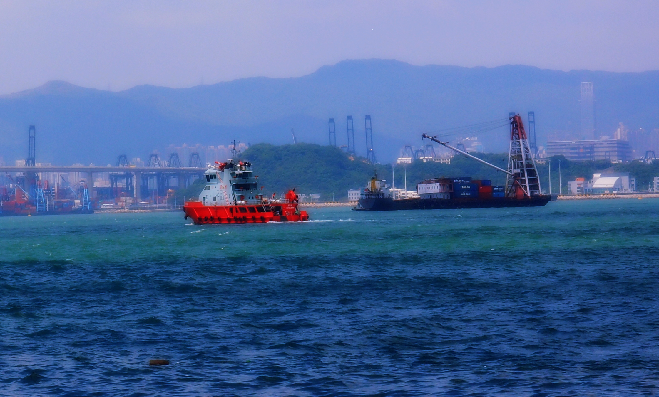 A fire boat that docks in Tsing Yi