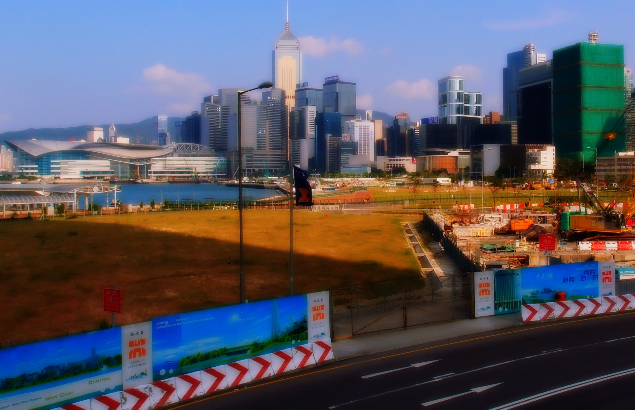 This is supposed to be the new waterfront park in Central next to the Star Ferry, work seems to have stopped as we have weeds rather than lush grass and tree's.....