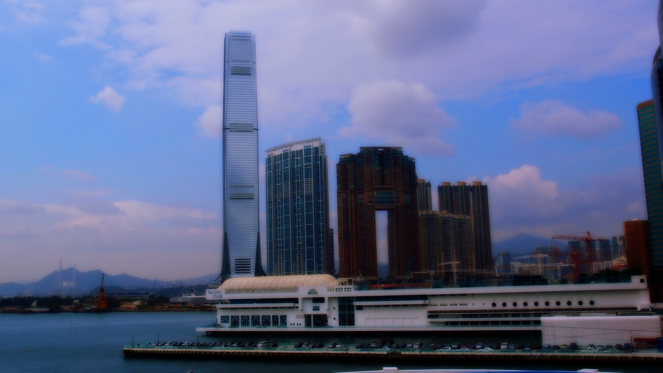 Looking at West Kowloon and the magnificent ICC Building, 118 floors with the Ritz Carlton Hotel on the top 16 floors.