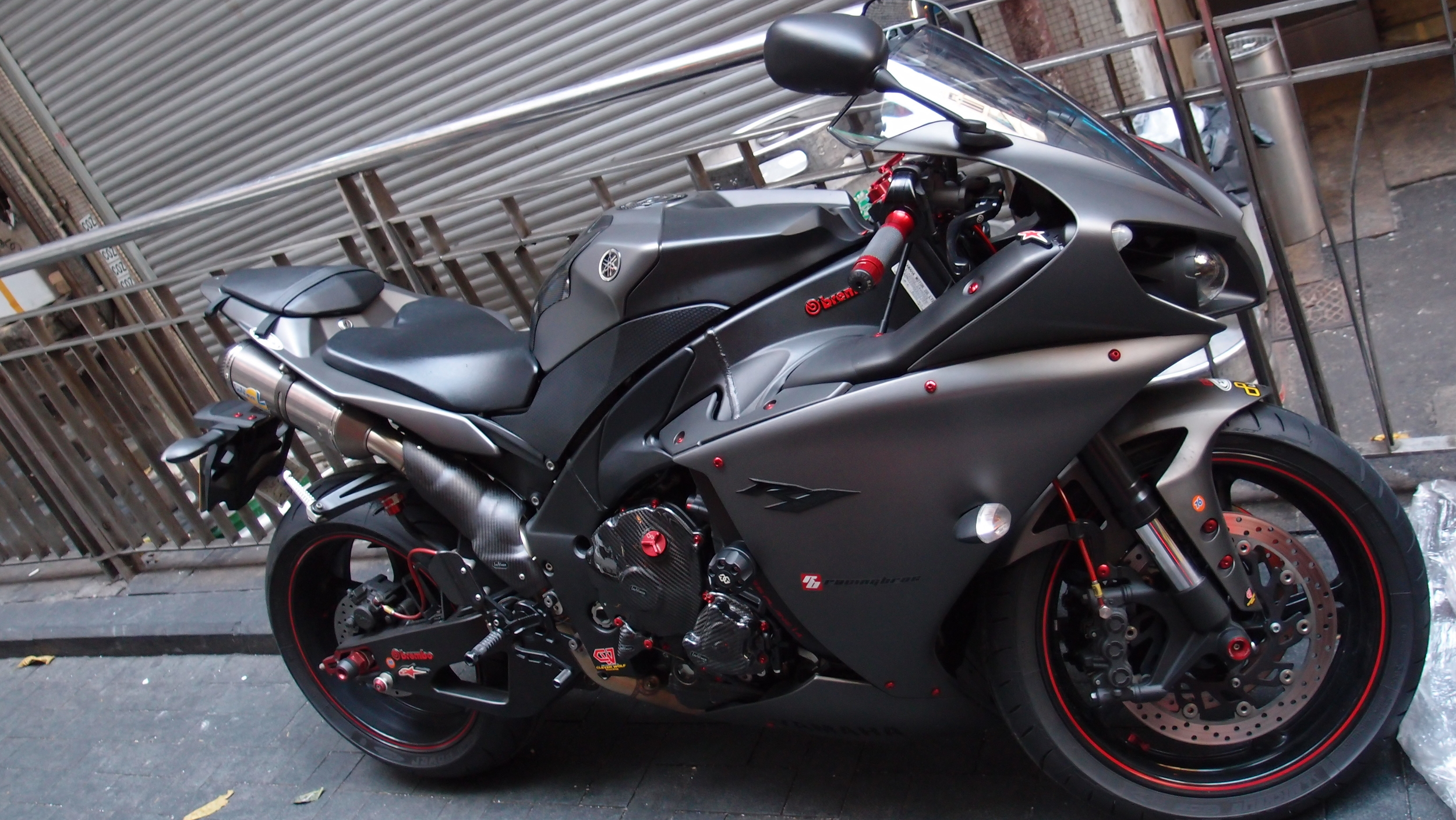 I am not an expert on motorbikes but I believe this is the special Yamaha Brembo R1 motorbike and it rocks!