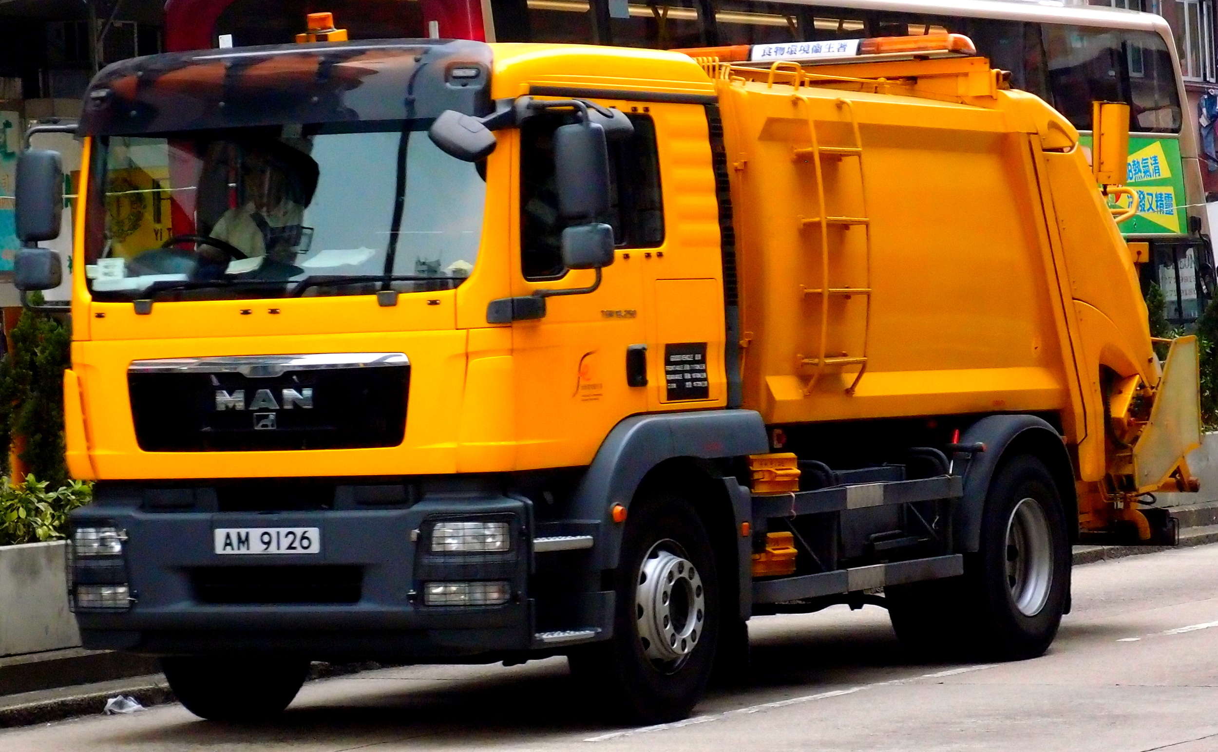 A waste disposal truck