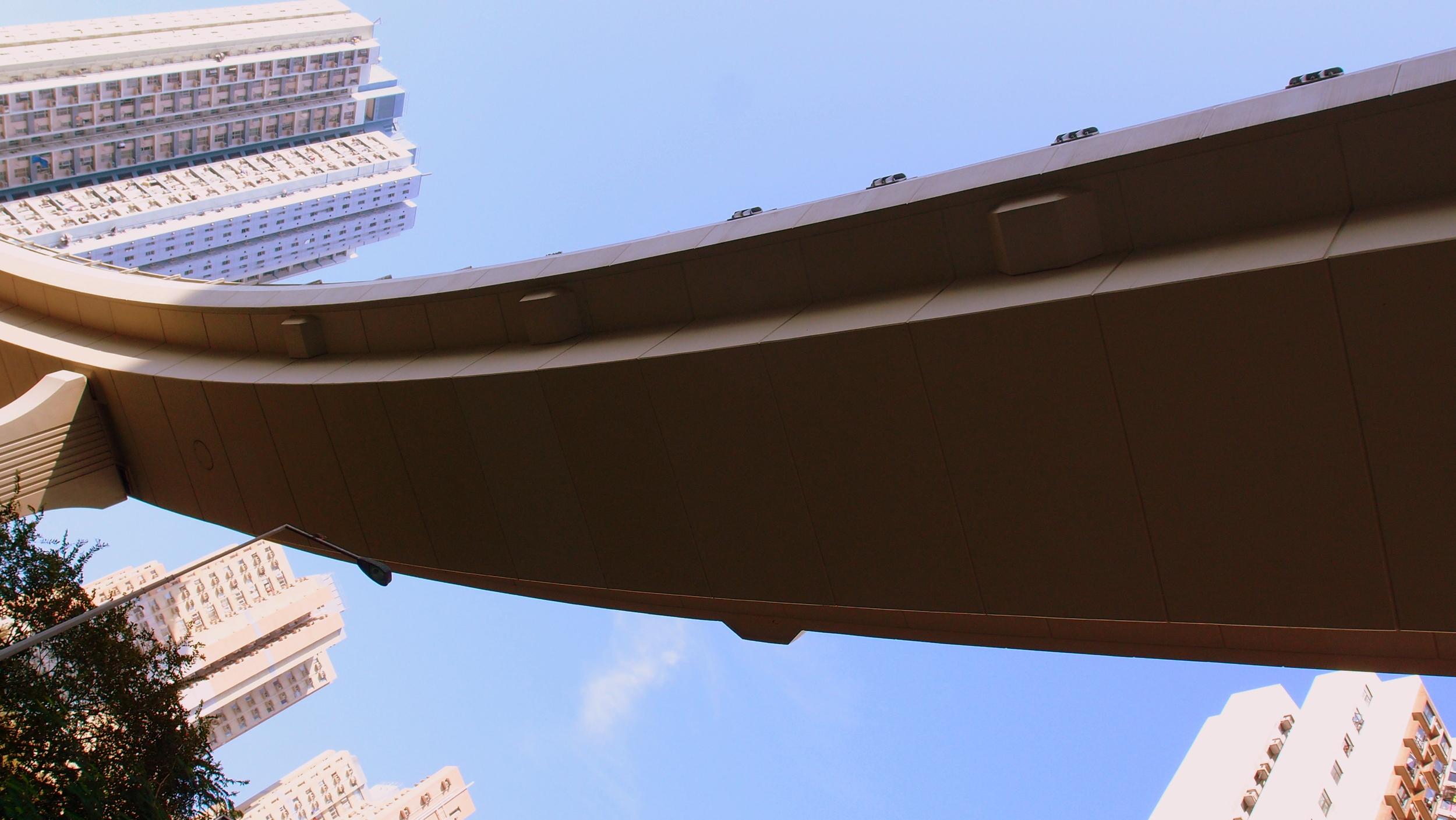 A flyover in Shau Kei Wan at the eastern end of Hong Kong Island
