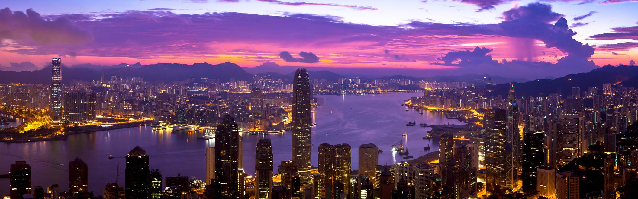 My friend Stuart sent me this brilliant panoramic vista of Hong Kong at sunset, taken from the Peak, thanks Stuart!