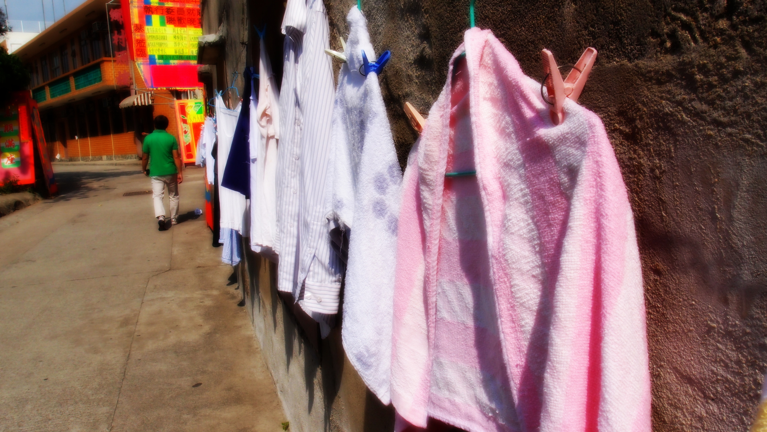 A random wall of drying clothes on Cheung Chau Island