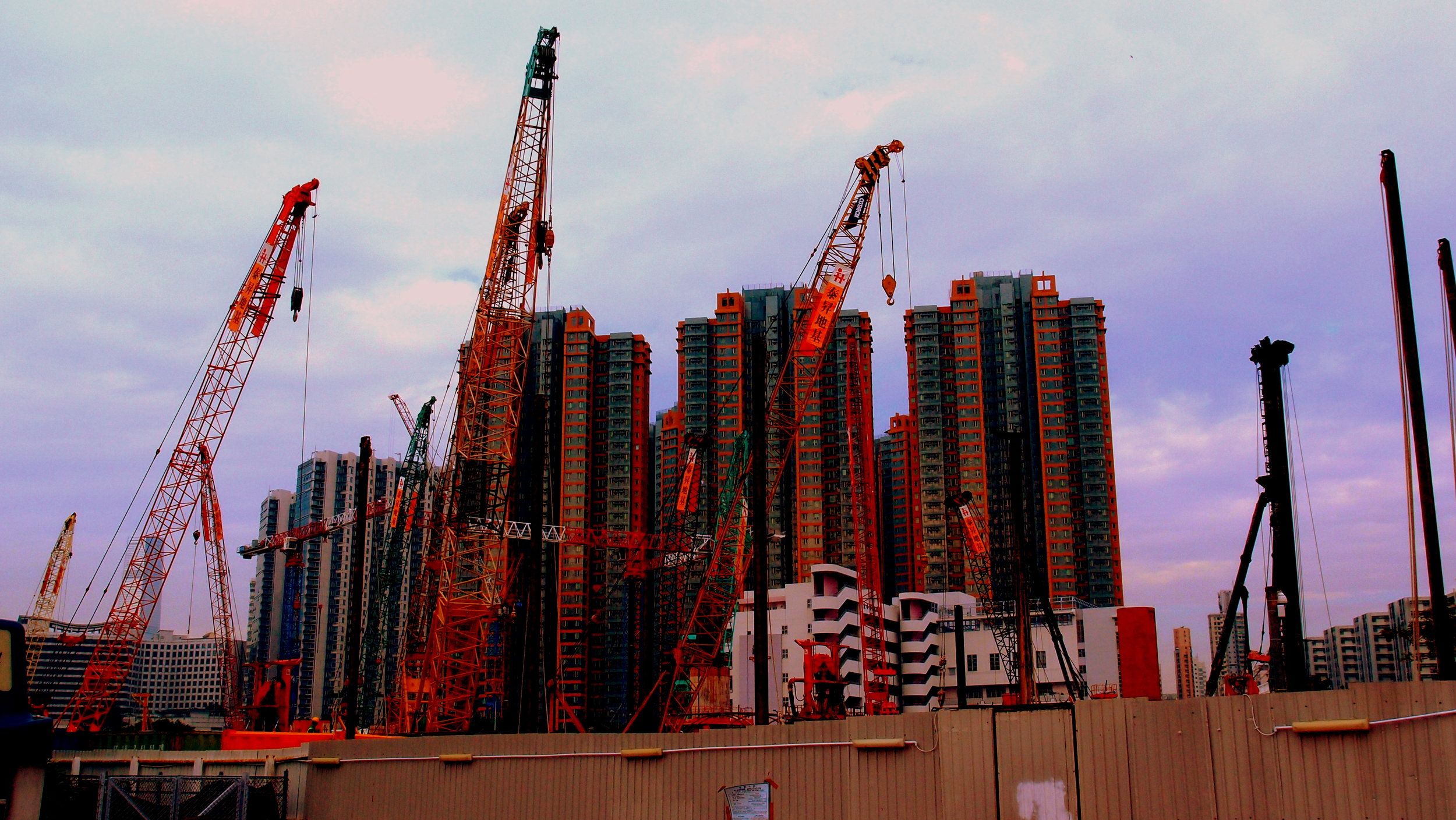 A typical building site in Hung Hom in Kowloon