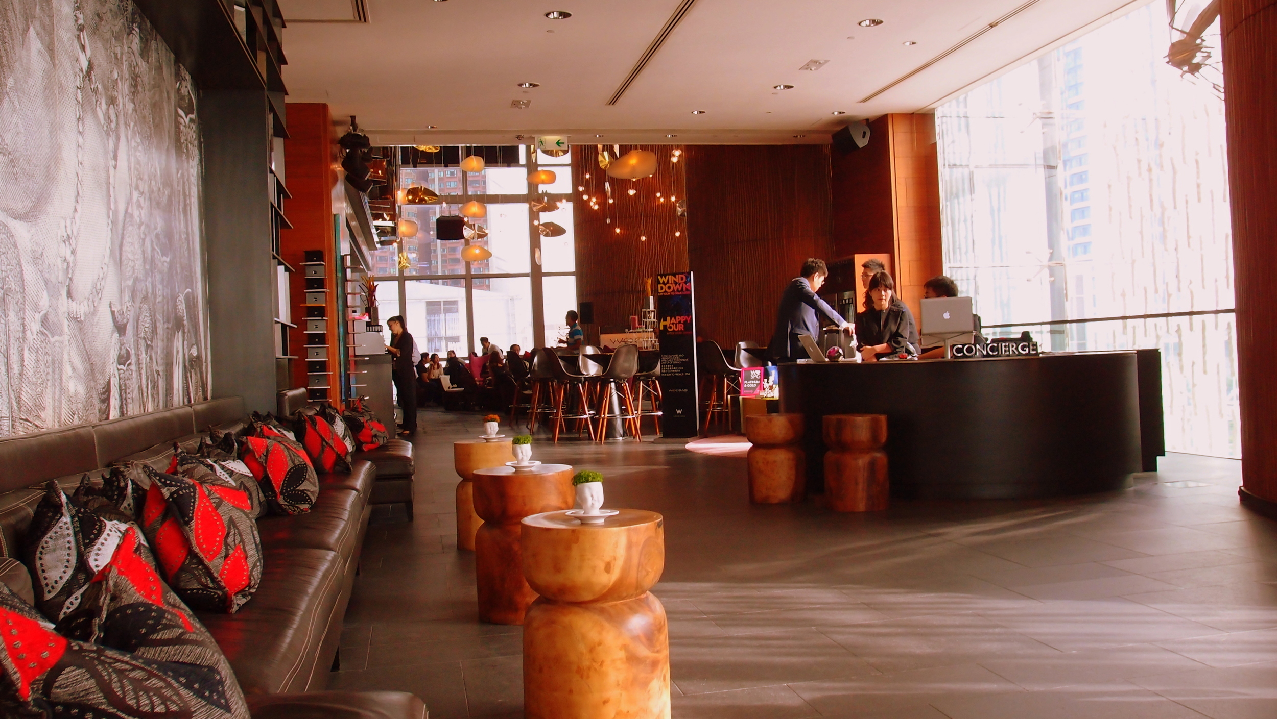 Just one of the lobbies in the W Hotel