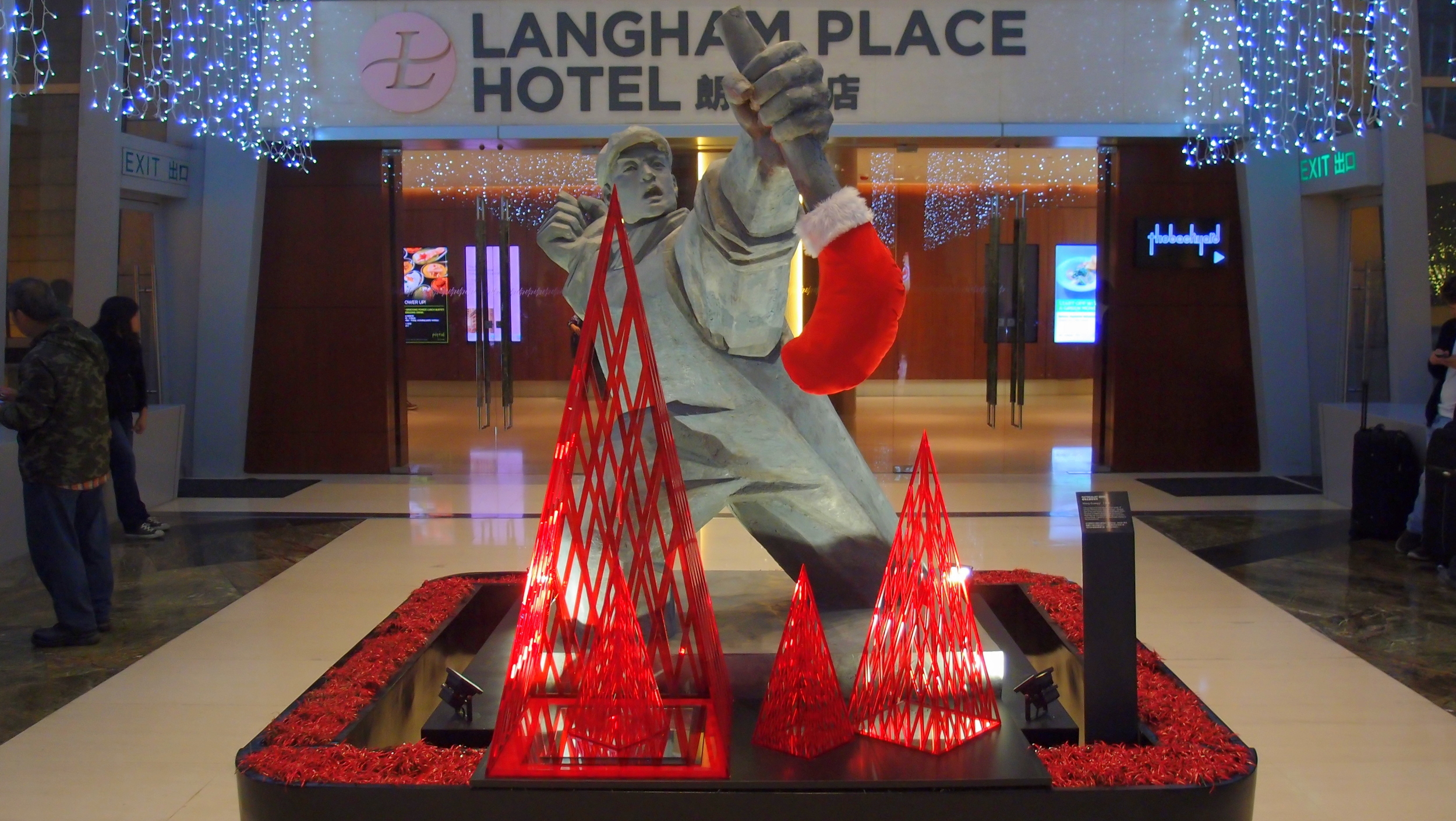 The Langham Place Hotel has a quirky sense of Xmas humour