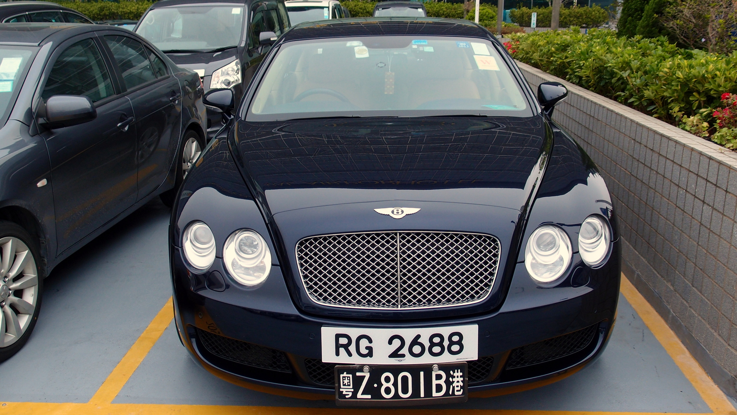 The white number plate is the standard Hong Kong plate, the black one allows the car to be driven in Mainland China.