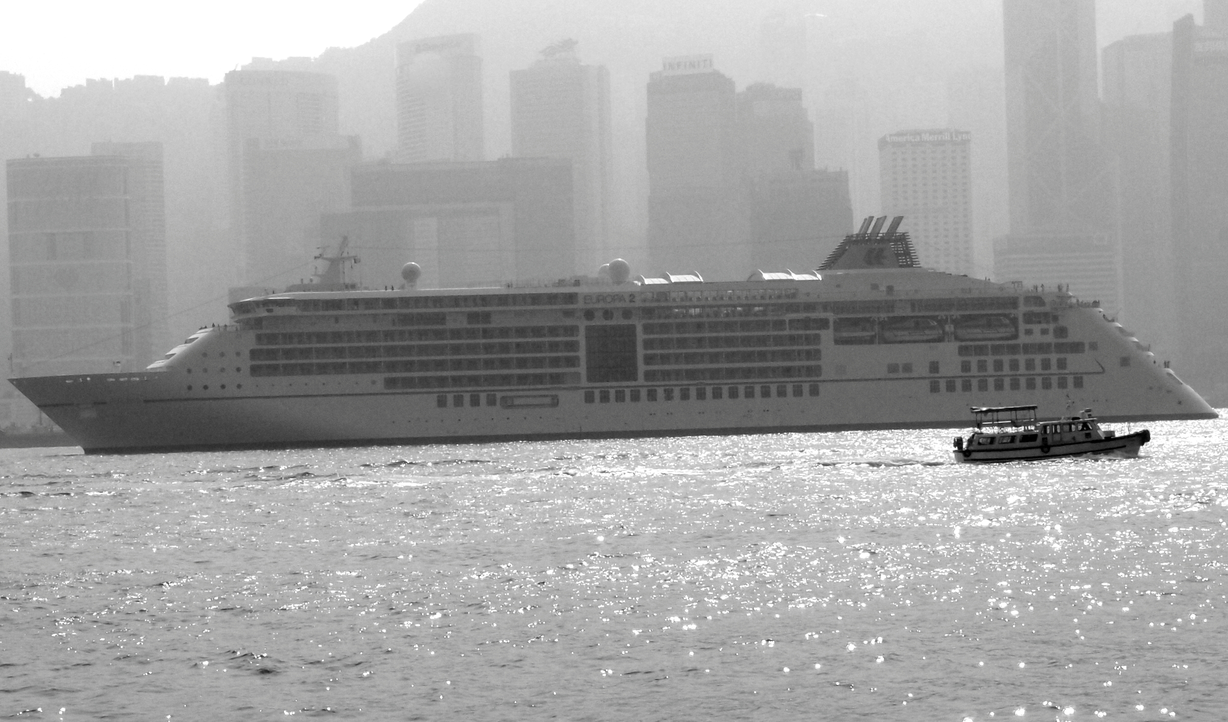 The Europa 2 sailing out of a smoggy Hong Kong harbour on January 5th 2014