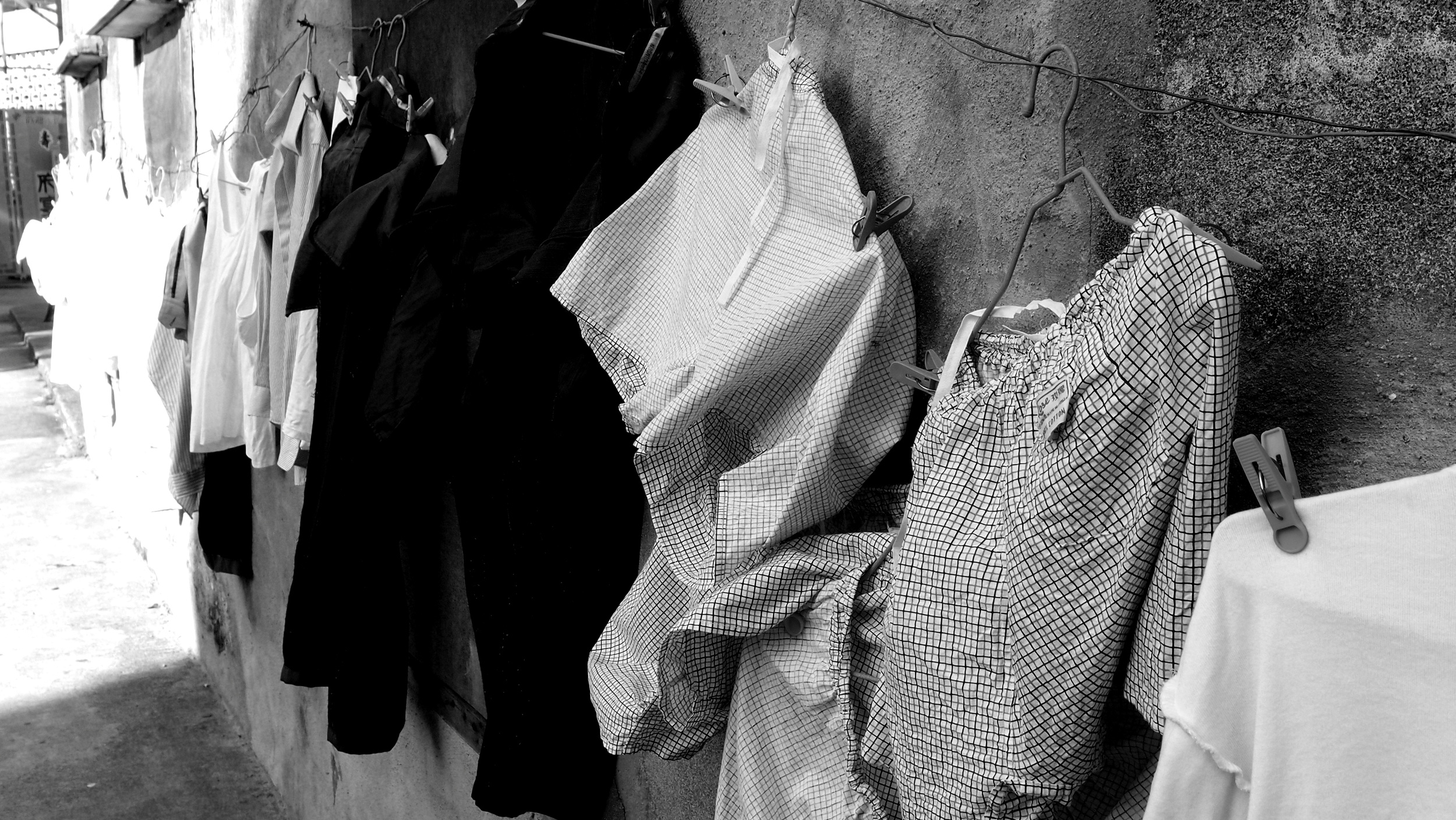 Random washing hanging out to dry