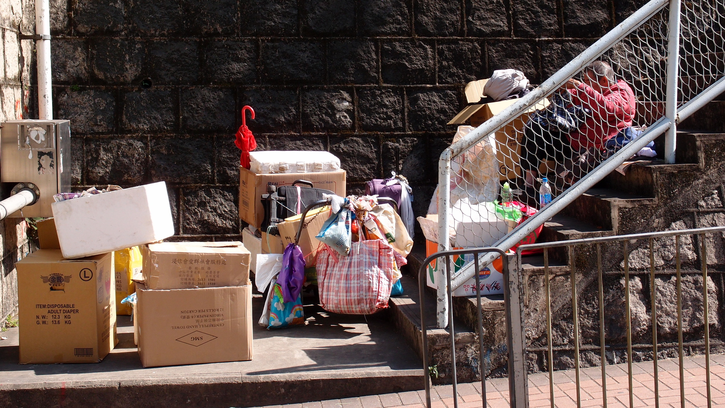 A homeless person with all his worldly possessions