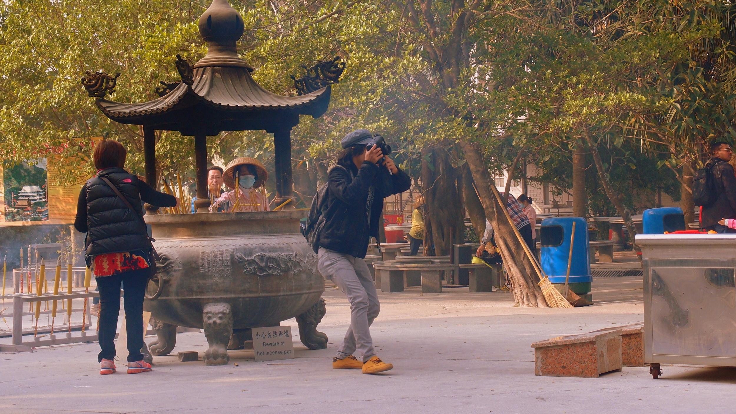 The iconic photographers pose - the Po Lin Monastery next to the Giant Buddha on Lantau Island