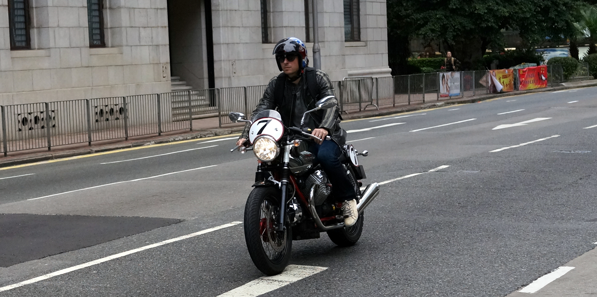 Cool dude on a very cool bike on Queens Road in Central District.