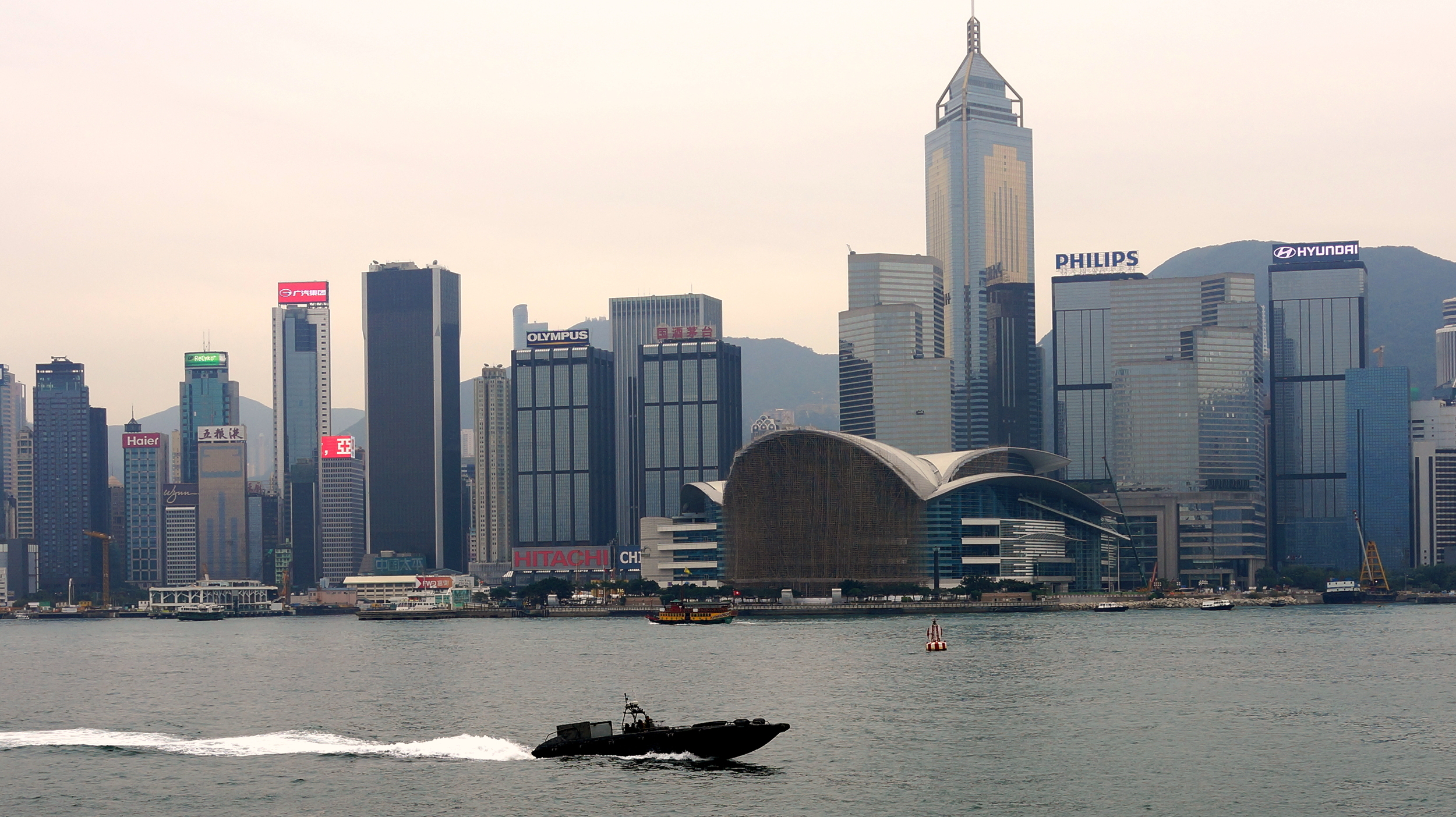 One of our super fast Police boats patrolling Hong Kong harbour looking for dodgy characters.