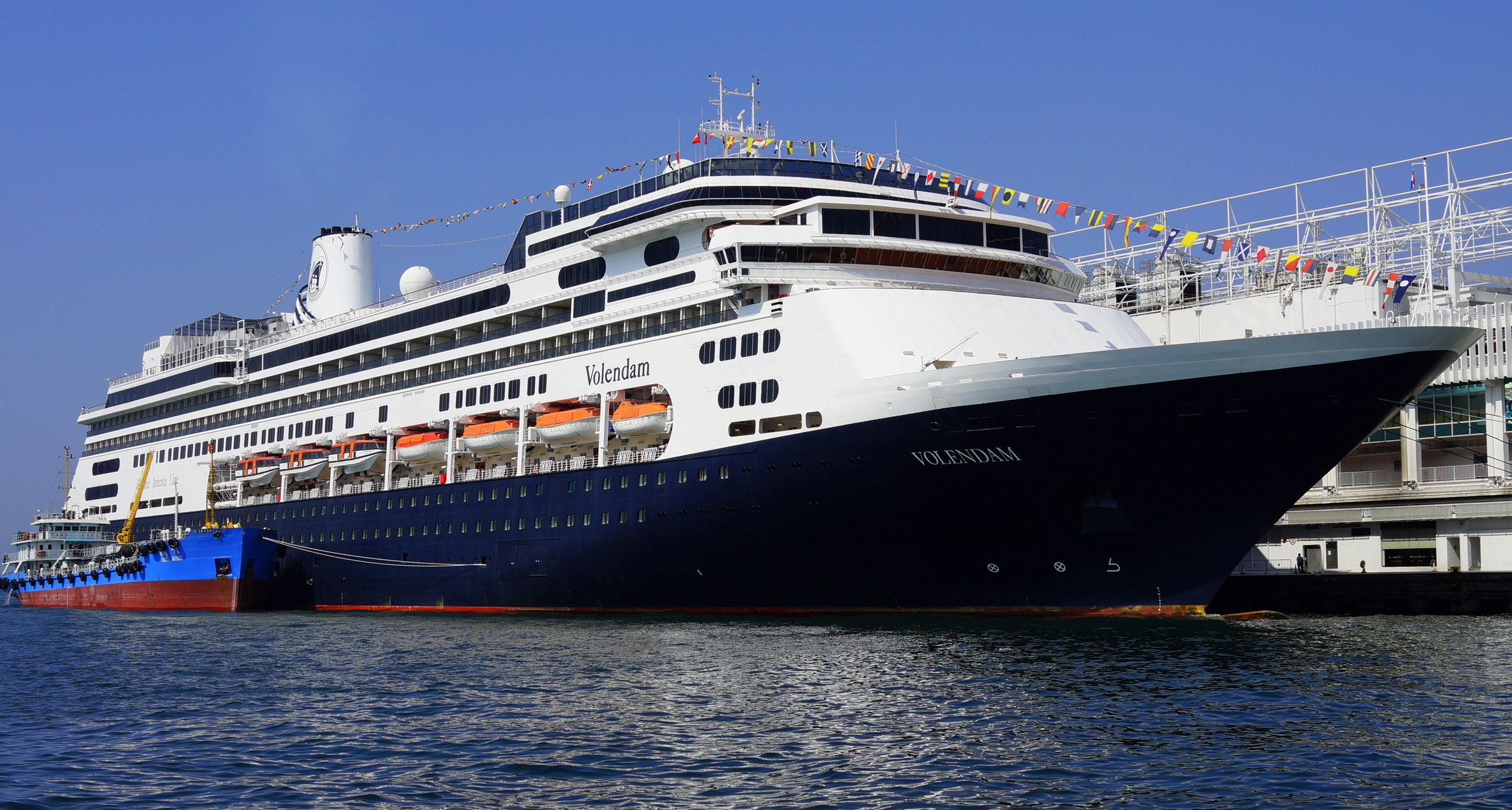The Volendam Cruise Ship docked at the Ocean Terminal - we are getting a lot more cruise ships this year compared to 2013.