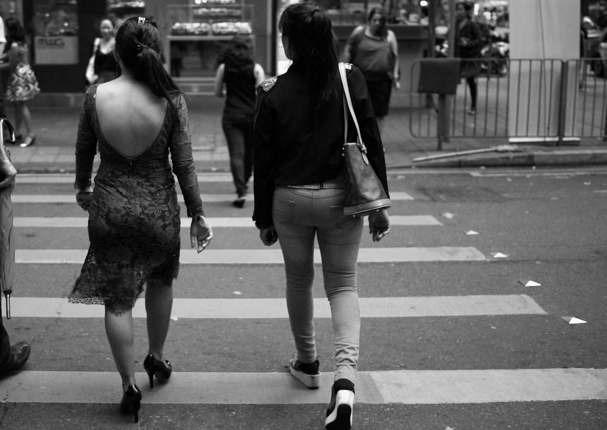 Young ladies in the girlie bar district in Wanchai on Hong Kong Island