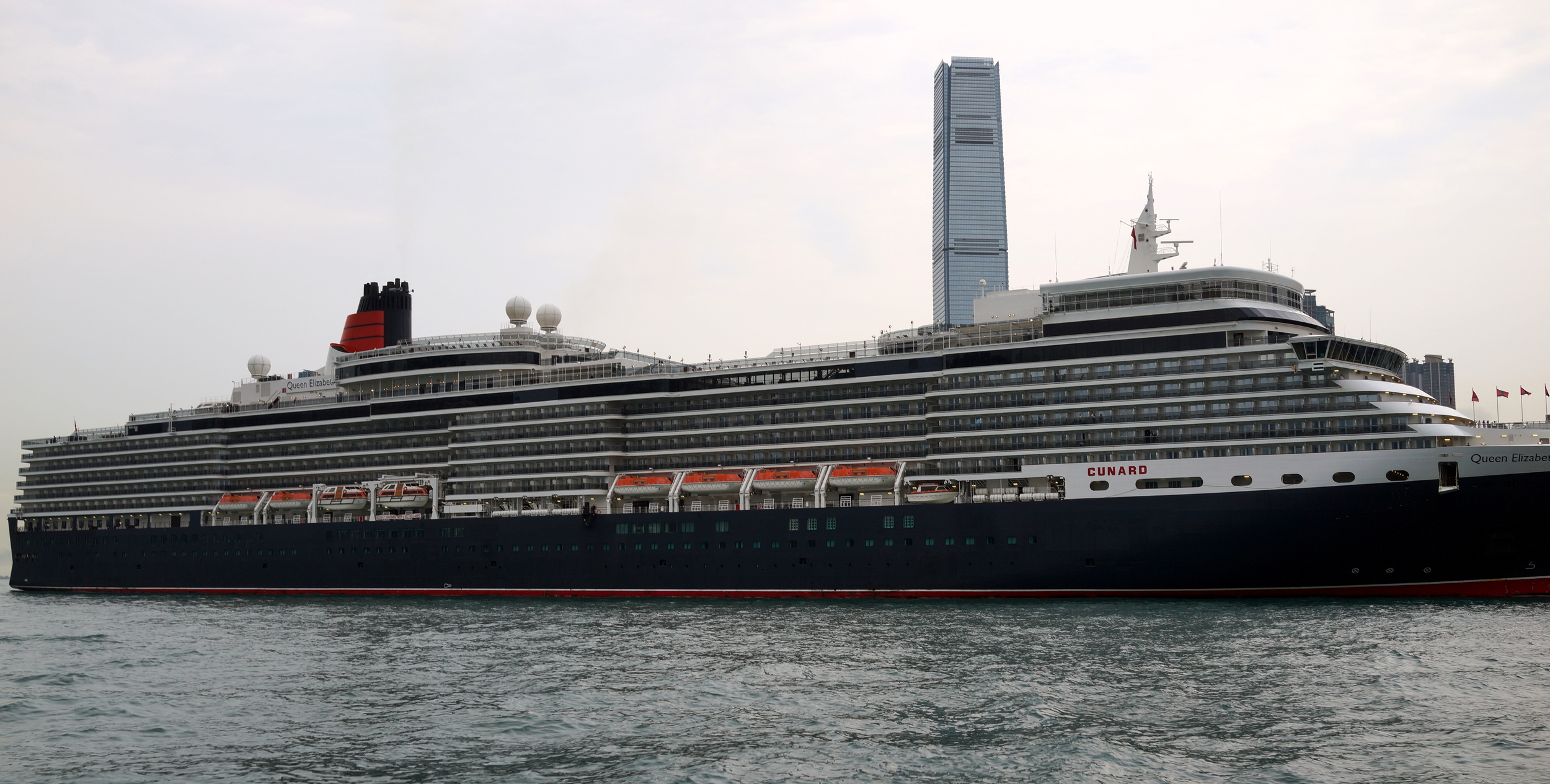 The very, very large / long Queen Elizabeth docked at the Ocean Terminal