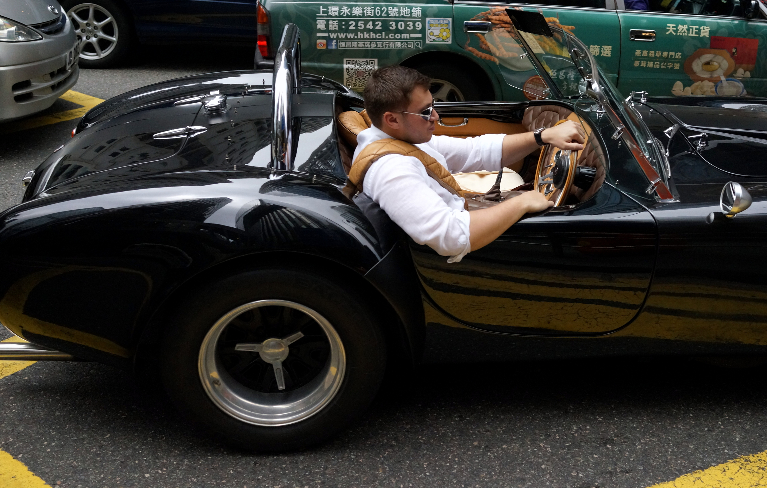 This chap was really enjoying driving this AC Cobra in Central District, Hong Kong Island