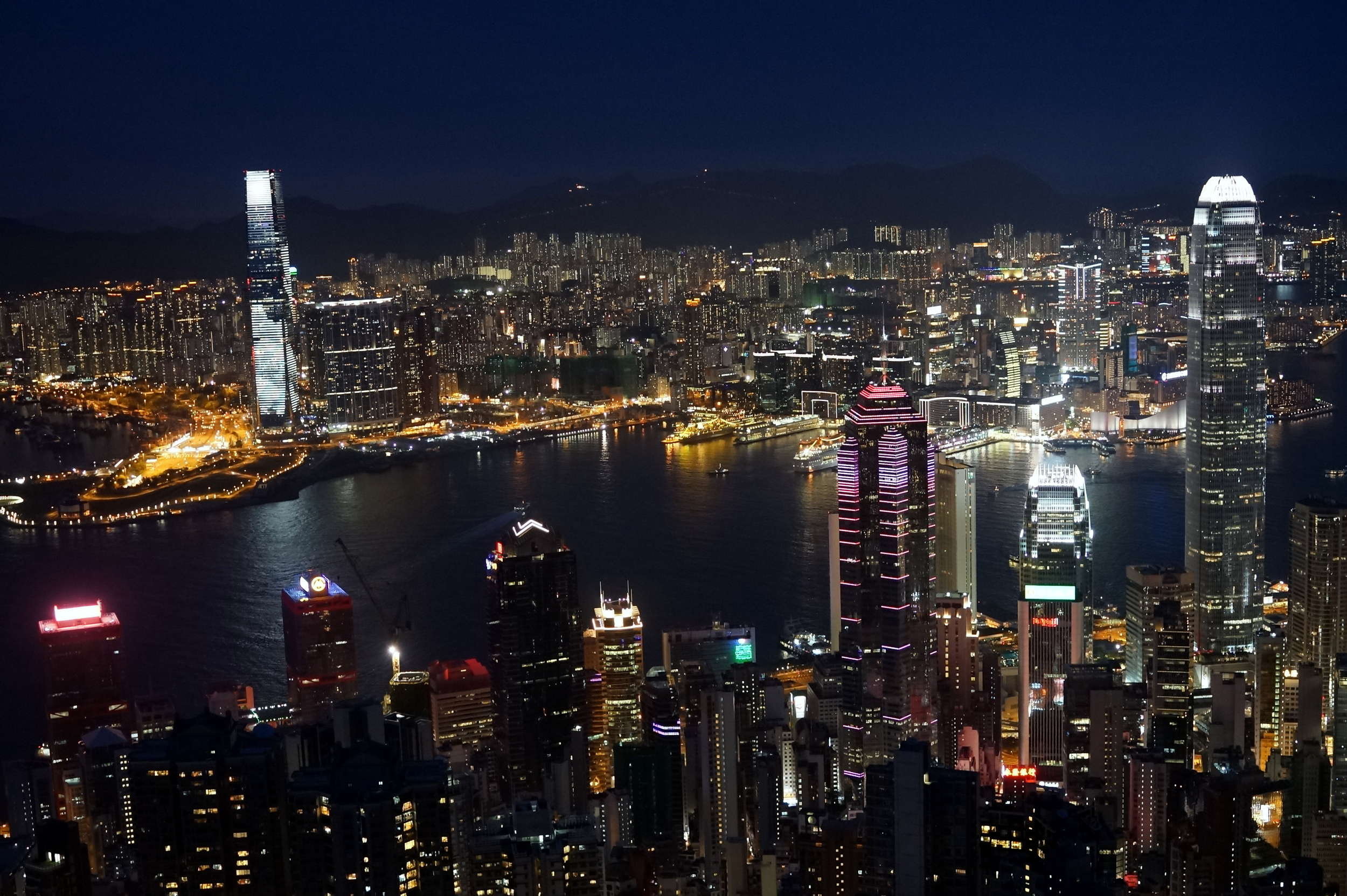 I took about 50 images (handheld no tripod) to get 2 stunning images of the night view of Hong Kong from my spot at the Peak - it has to be the most fabulous city view in the world.