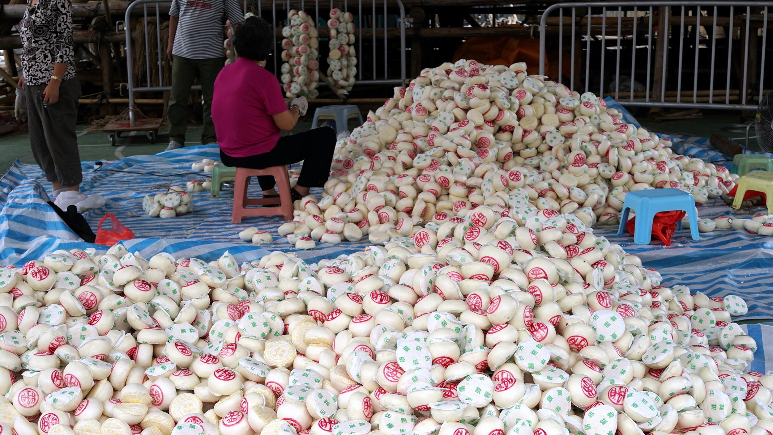 Getting ready for the Cheung Chau Bun Festival
