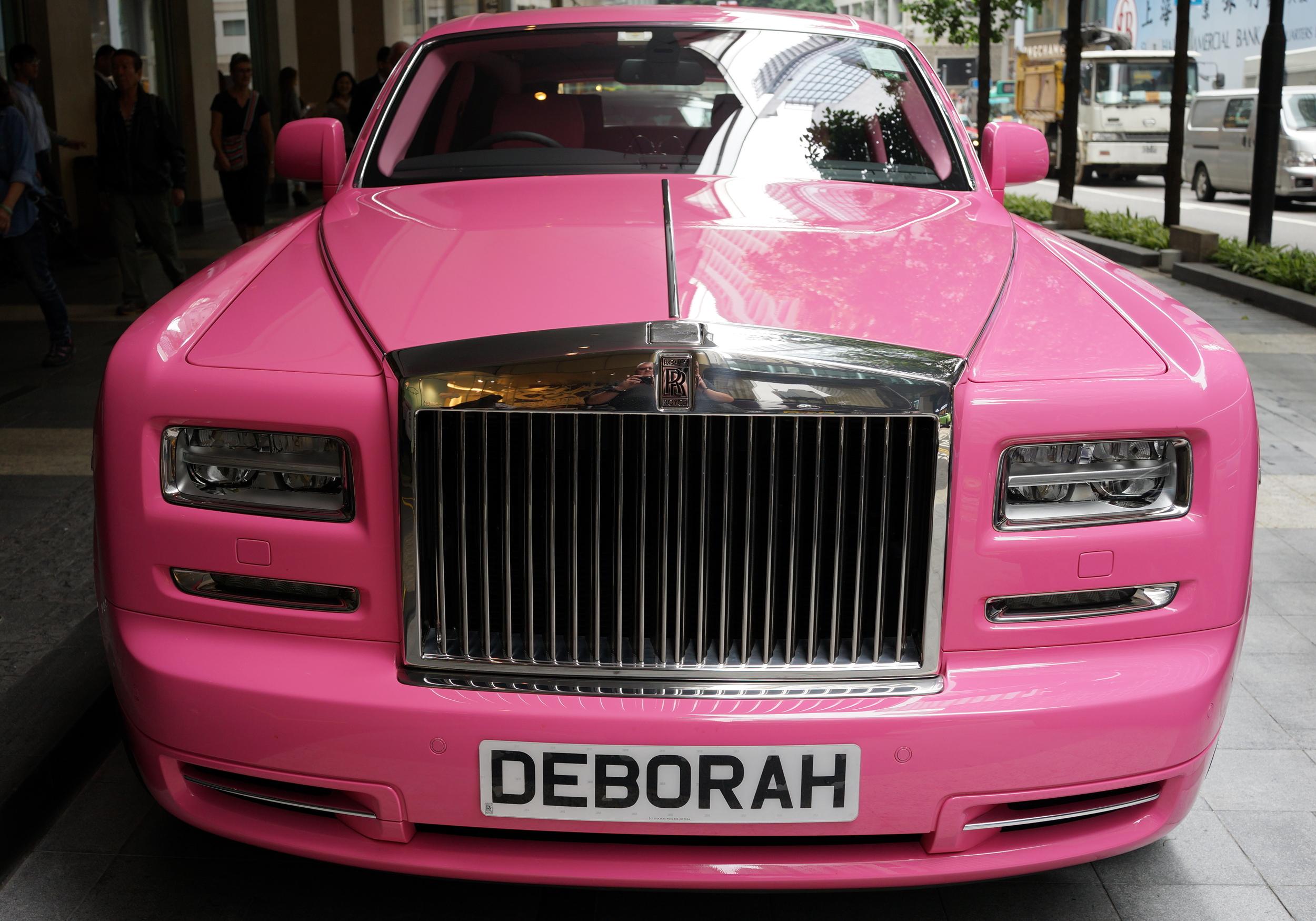 Deborah's Pink Rolls Royce Phantom from the front