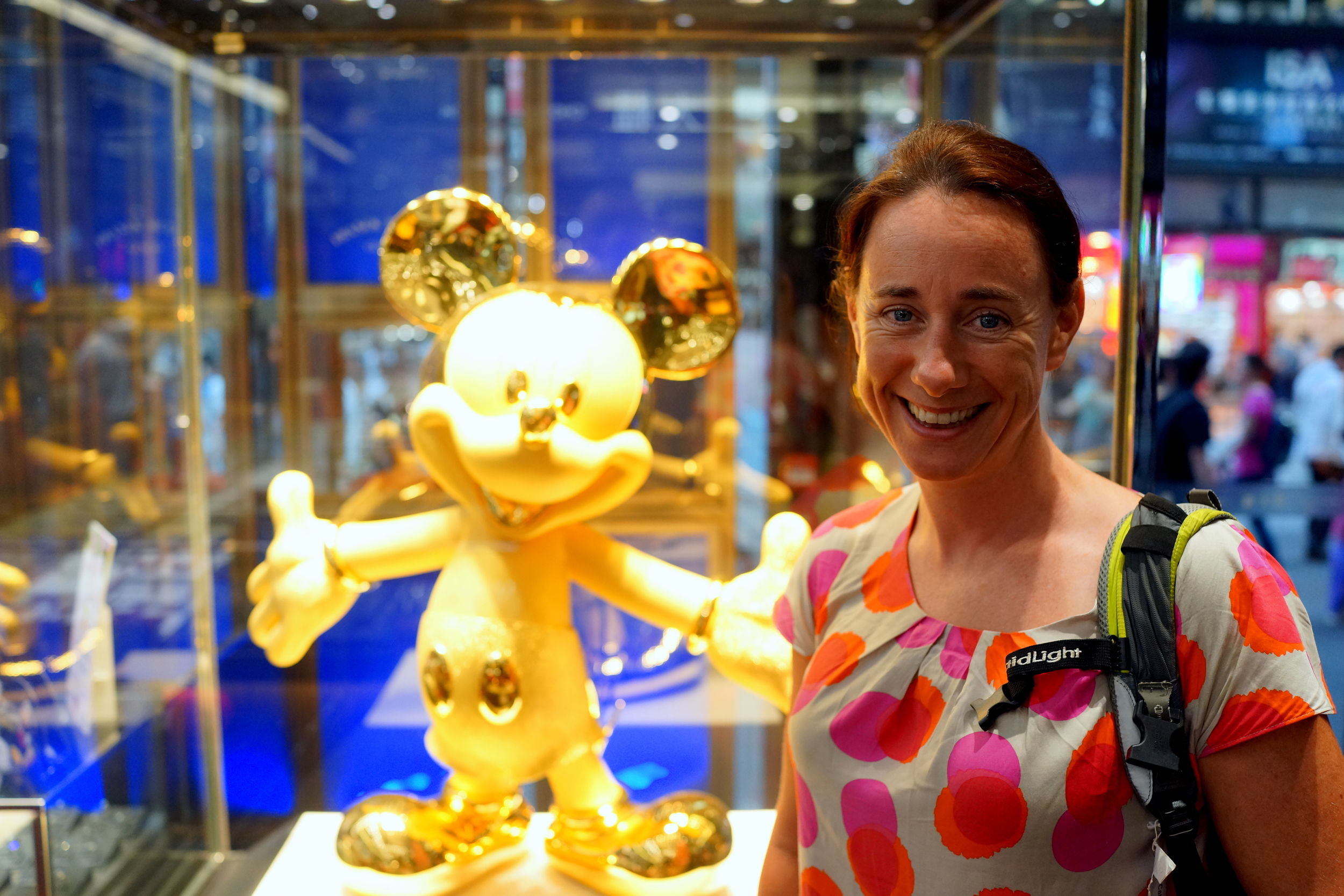 Meet Jax, Jax works for the British Government in Bangladesh... here she is sharing the spotlight with the 24k pure gold Mickey Mouse (10.58kg and US$460,000) in Chow Tai Fook on Nathan Road