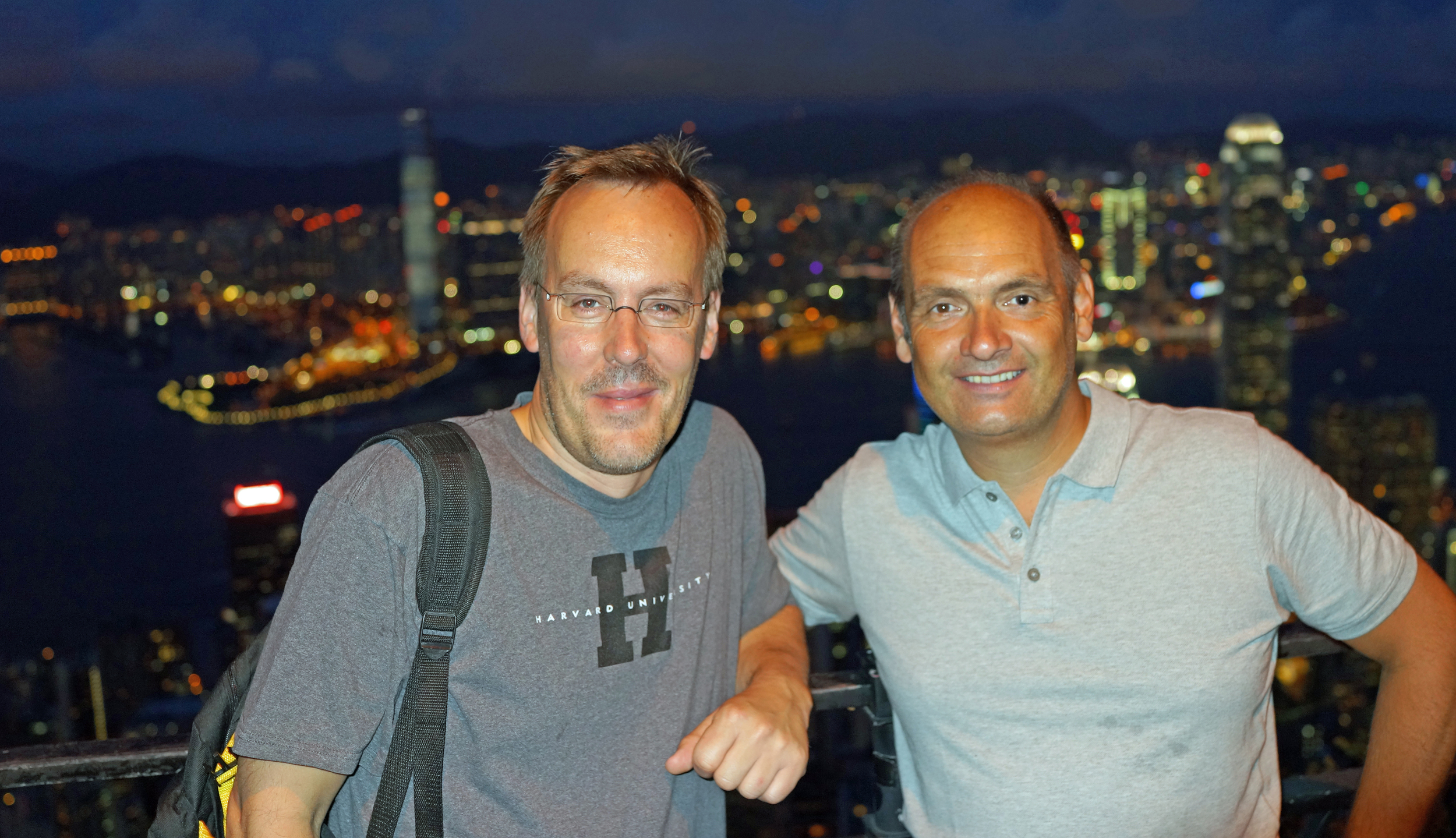 Meet Frank and George enjoying the staggering night view from my spot at the Peak.