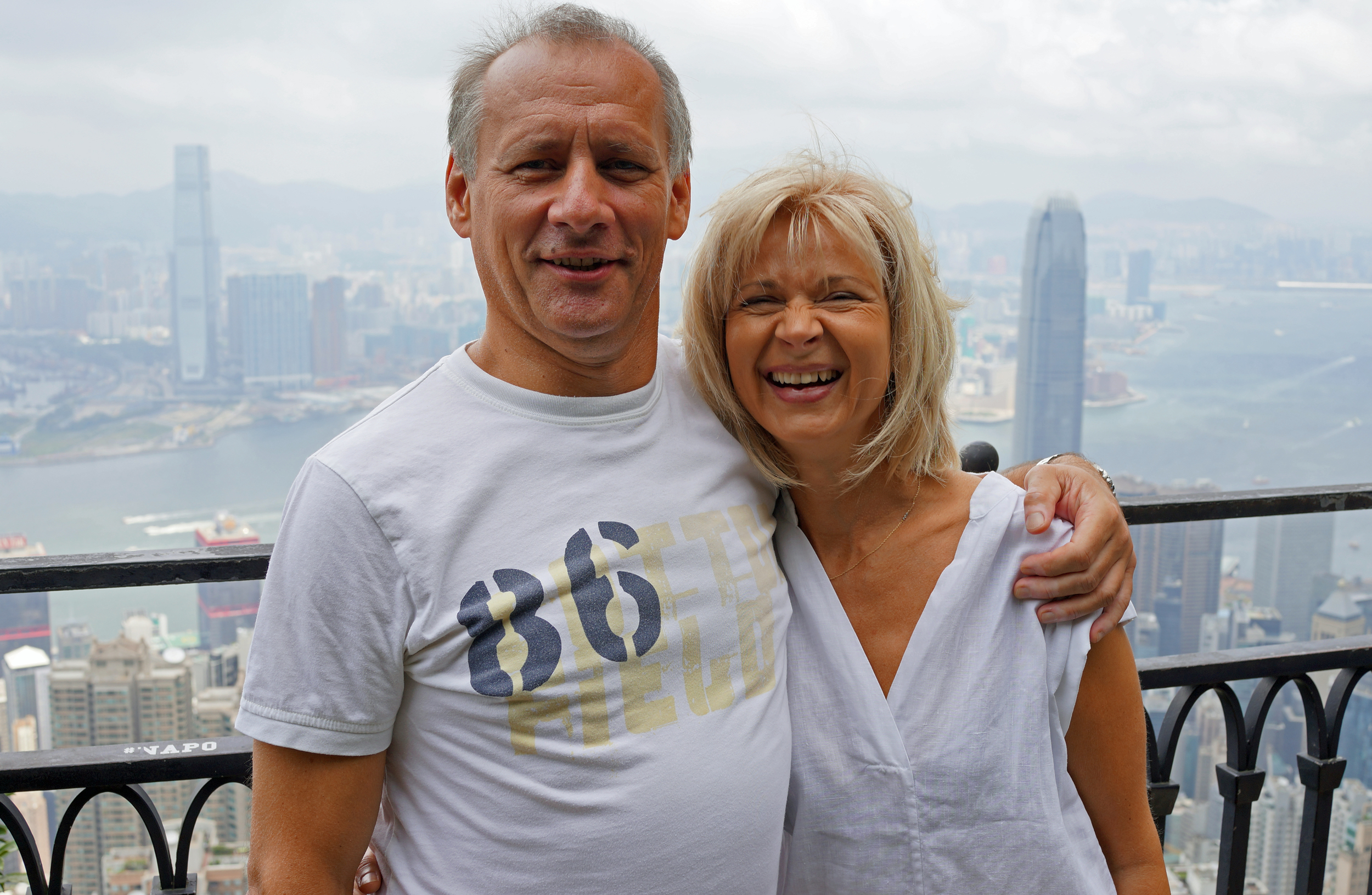 From Germany, Bernd is a Doctor and here with his lovely wife Anke seeing the great view from my spot at Victoria Peak before delivering a lecture or three at one of our Hospitals.