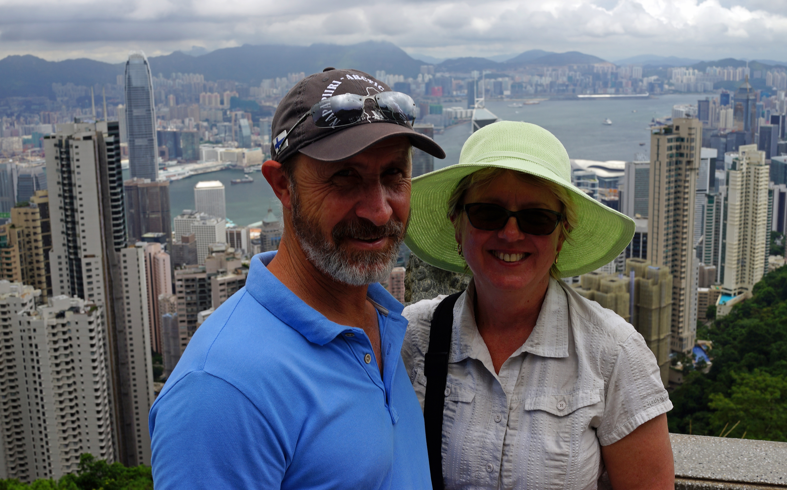 Meet Helen and Joe from Australia enjoying the fine view from the Peak Tower at Victoria Peak