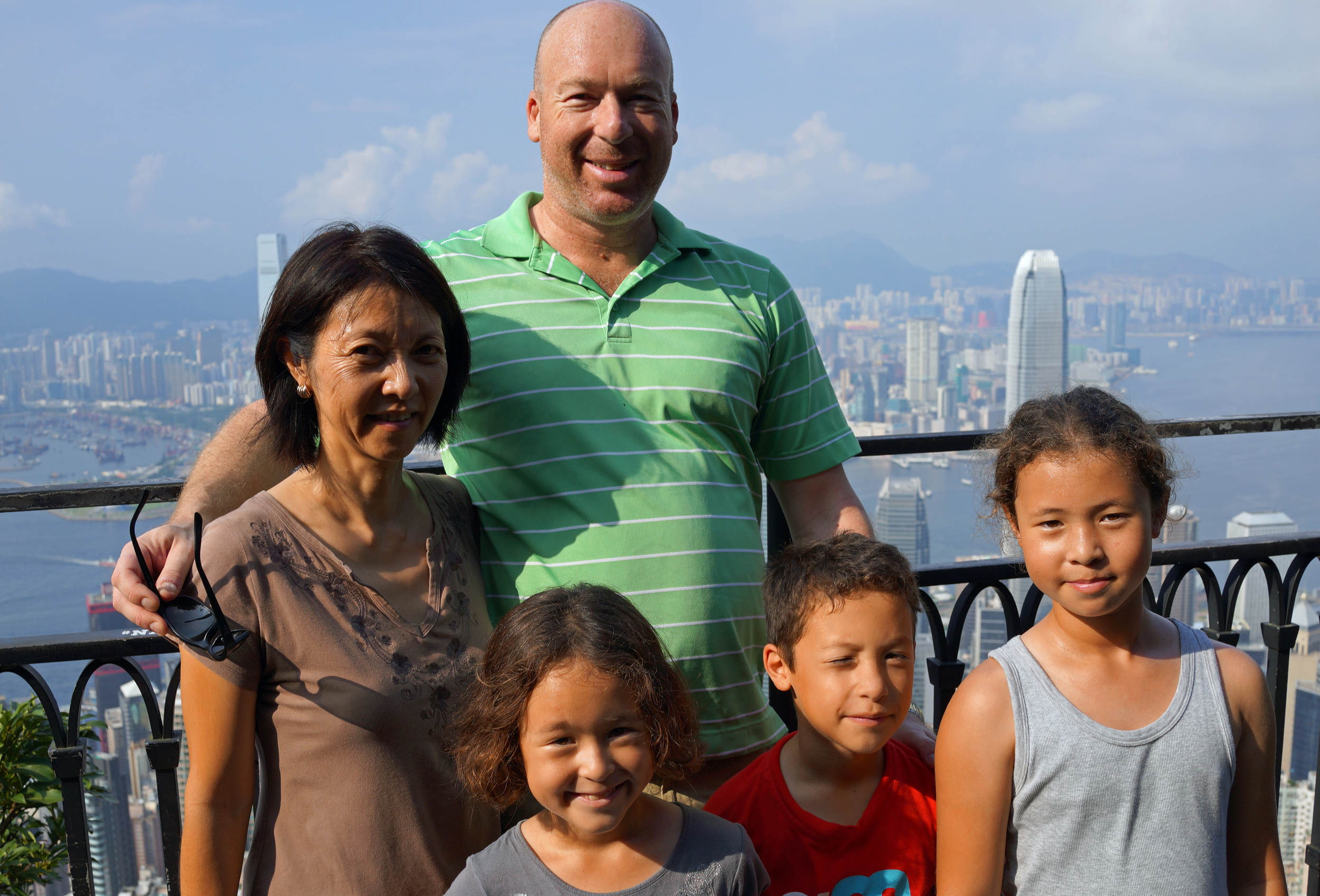 The Korten family from South Africa enjoying the stunning city views from my spot at Victoria Peak, Hong Kong