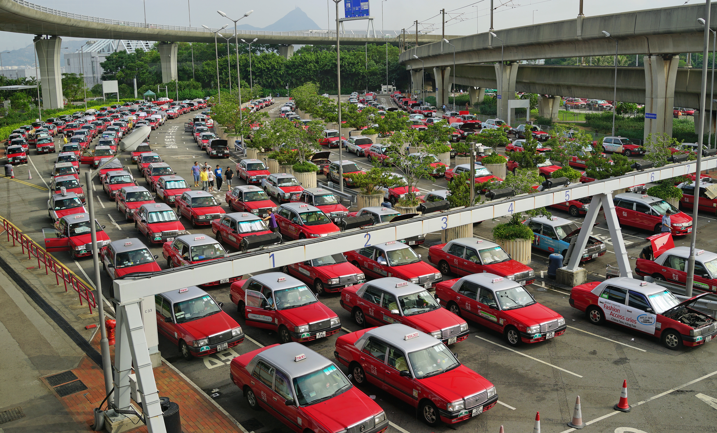 Hong Kong has over 18,500 taxi's most of them seem to be at the airport!