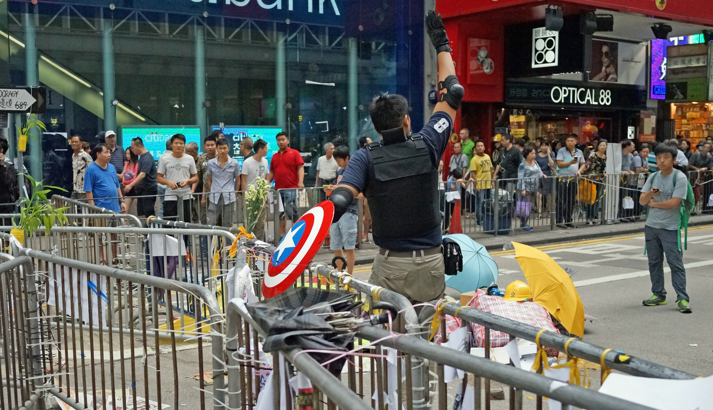 The moron dressed as Captain America inciting riots in Hong Kong