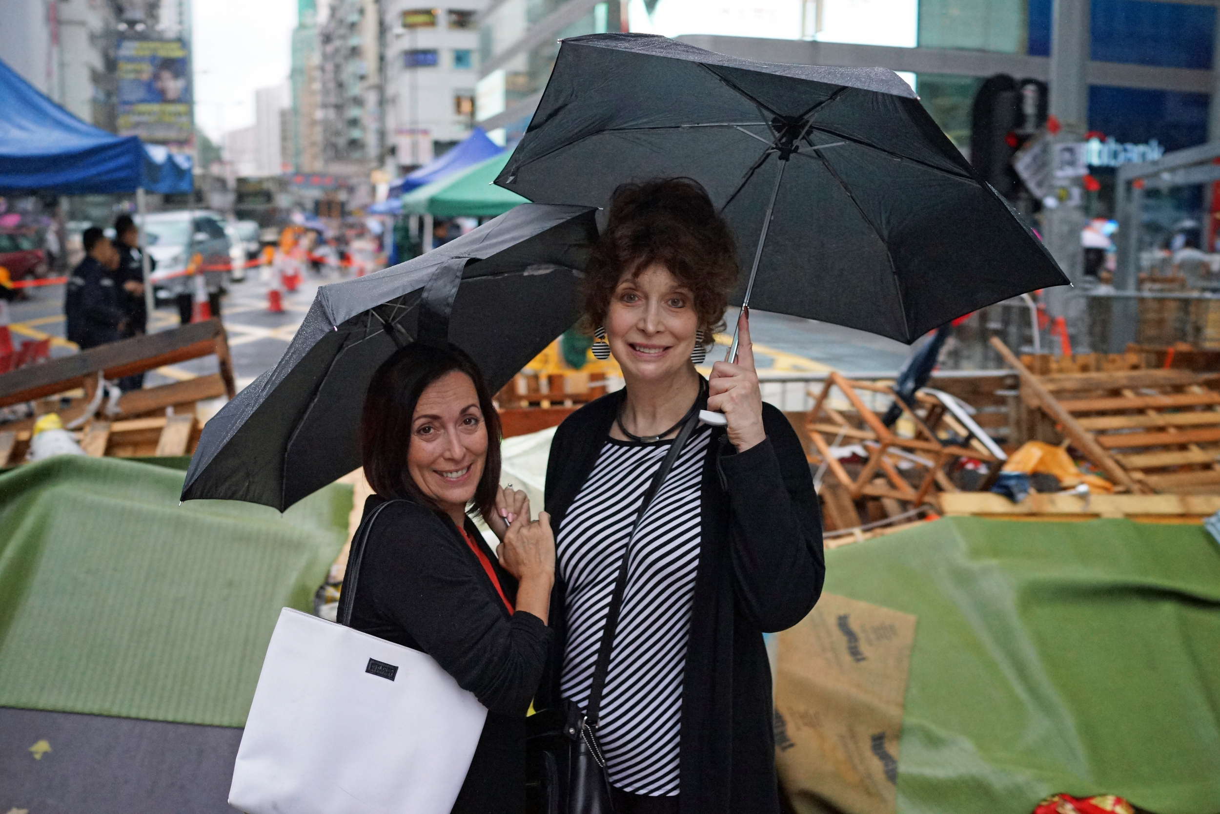Alisa and Cathy are cousins - here they are at the protest site in Mong Kok, Kowloon