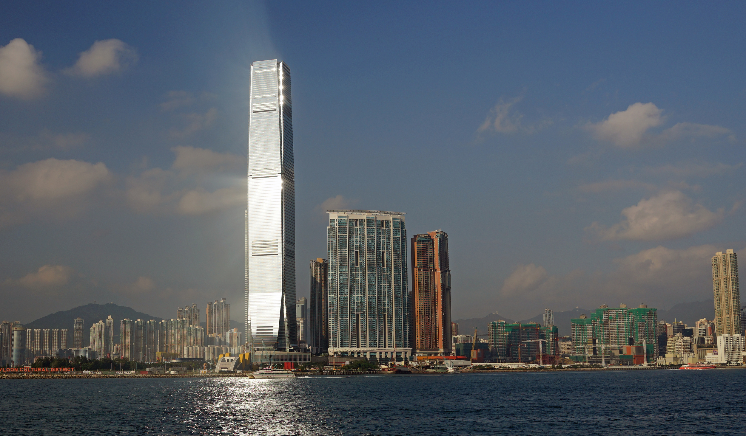 ICC at 118 floors is Hong Kong's tallest building - in the late afternoon it catches the sunshine and shines like a beacon... amazing