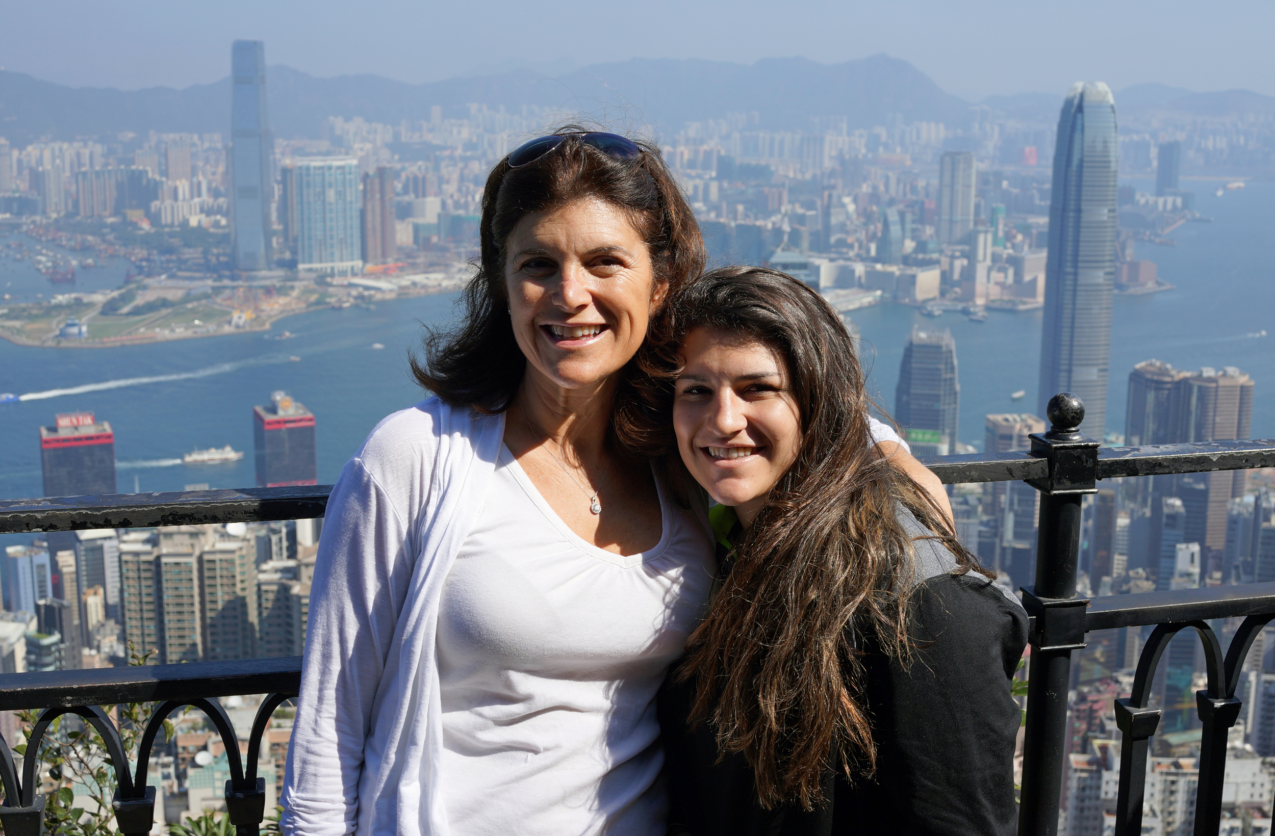 Angel and Julia enjoying the amazing views from my spot at the Peak on a lovely, lovely day.