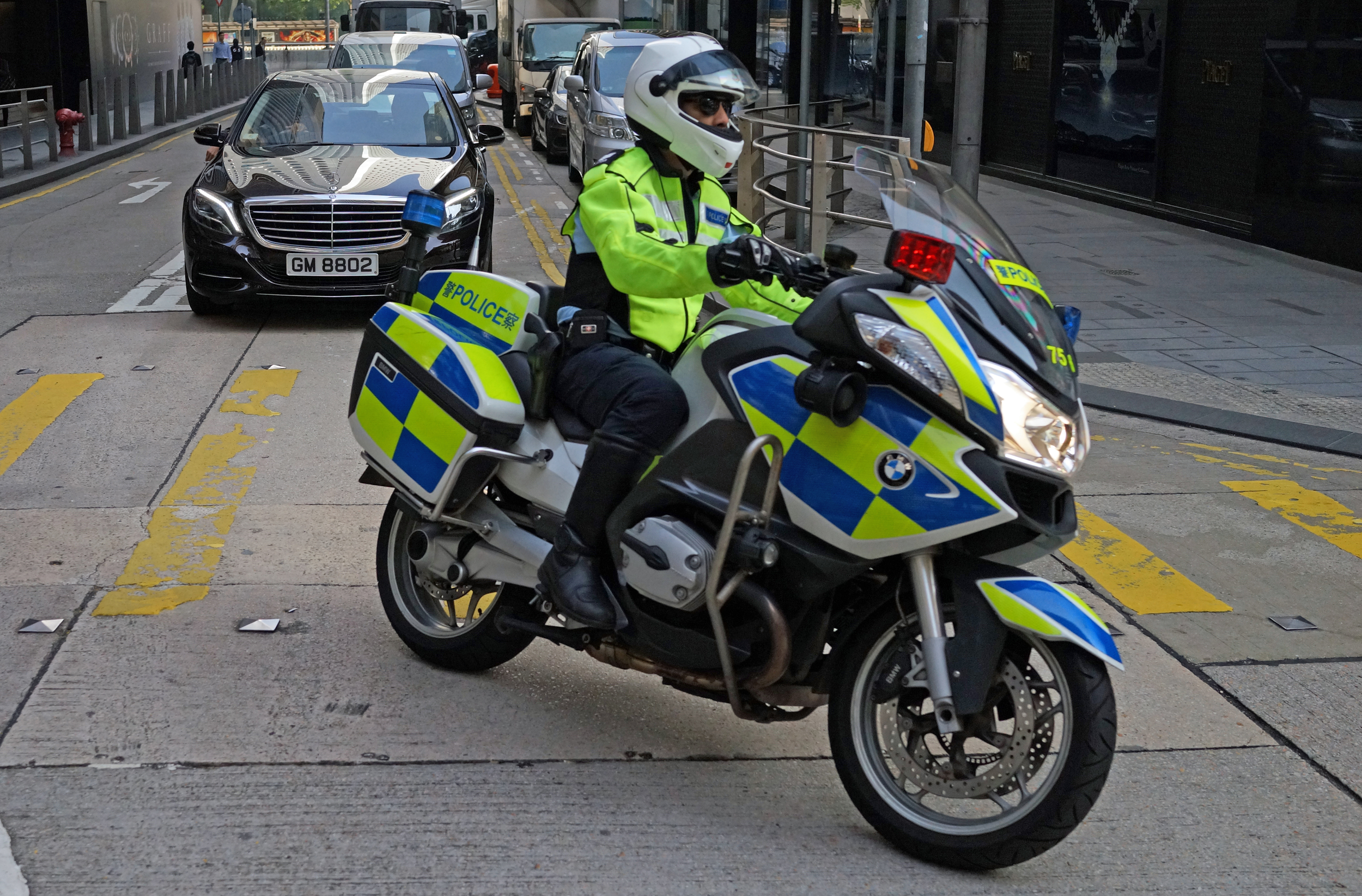 An action shot of a Traffic Cop in the Central Business District.