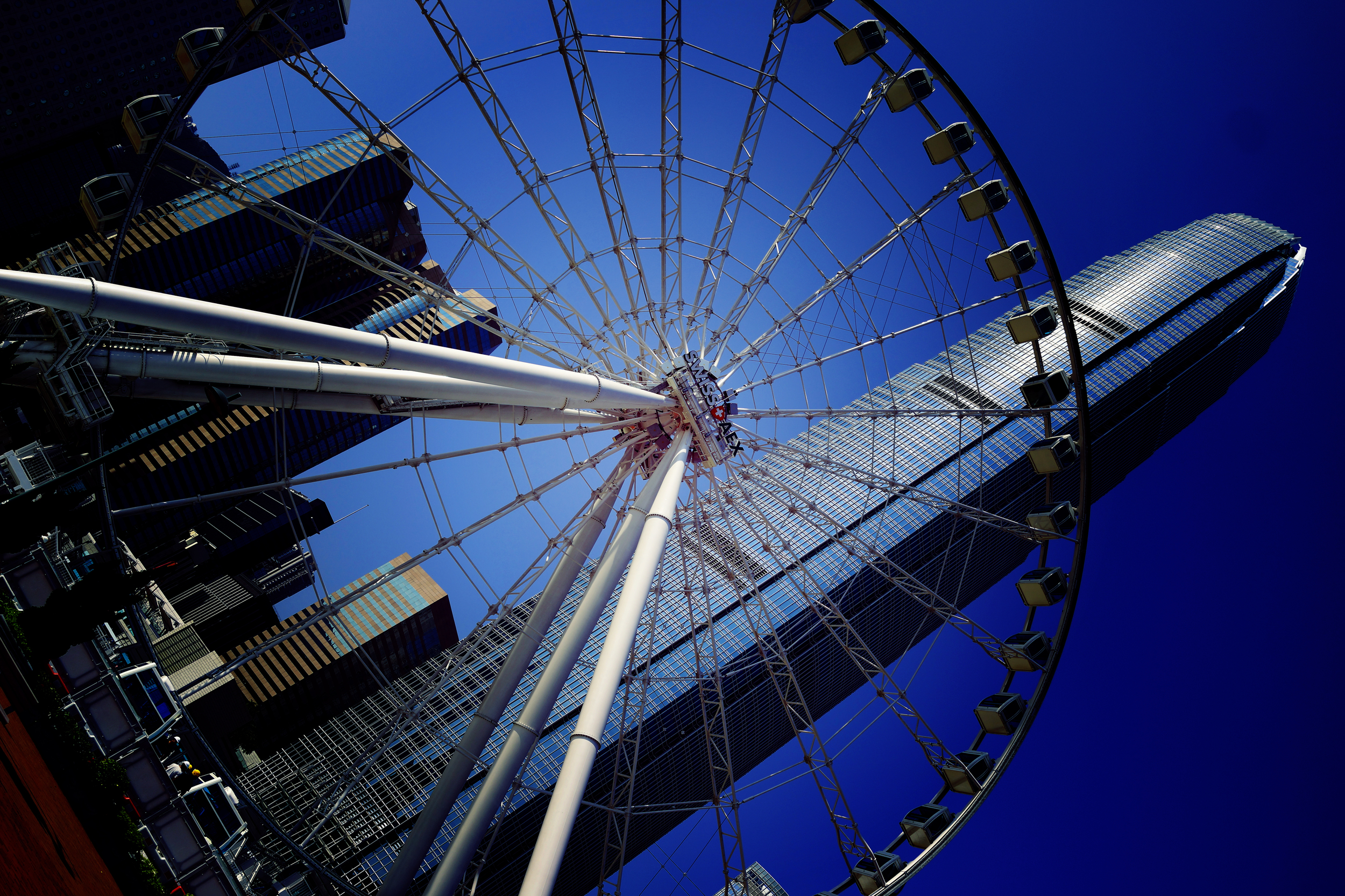 A lovely image (even though I say so myself) of the much delayed giant hampster wheel, (sorry, Hong Kong Eye) on the central waterfront park.