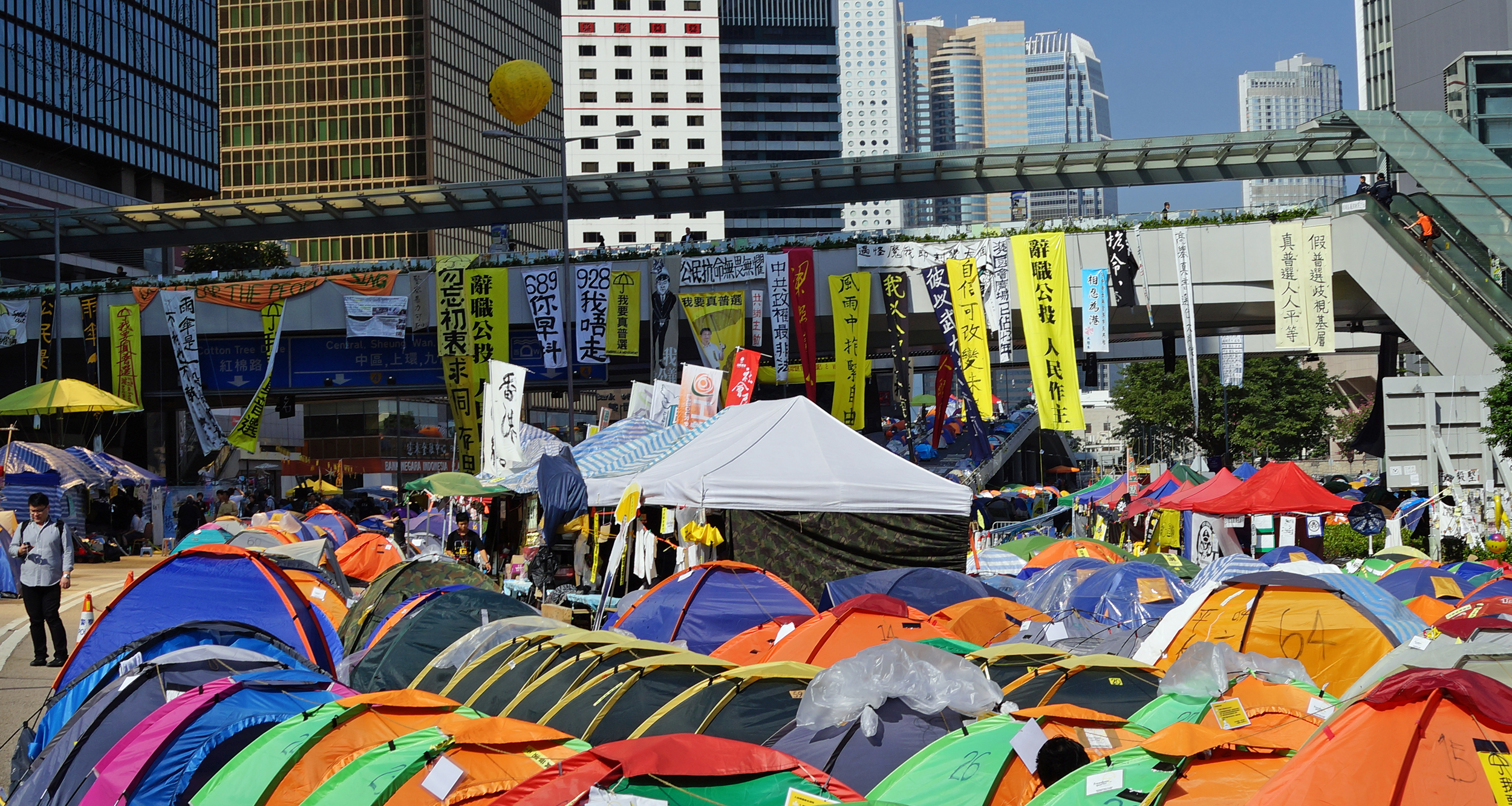 The bizarre and somewhat illegal occupy zone at Admiralty